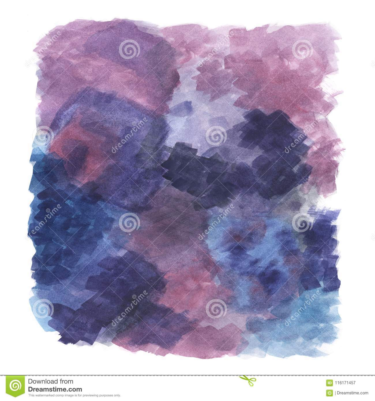 Violet, purple abstract illustration of hand-drawn watercolor painting, artistic background