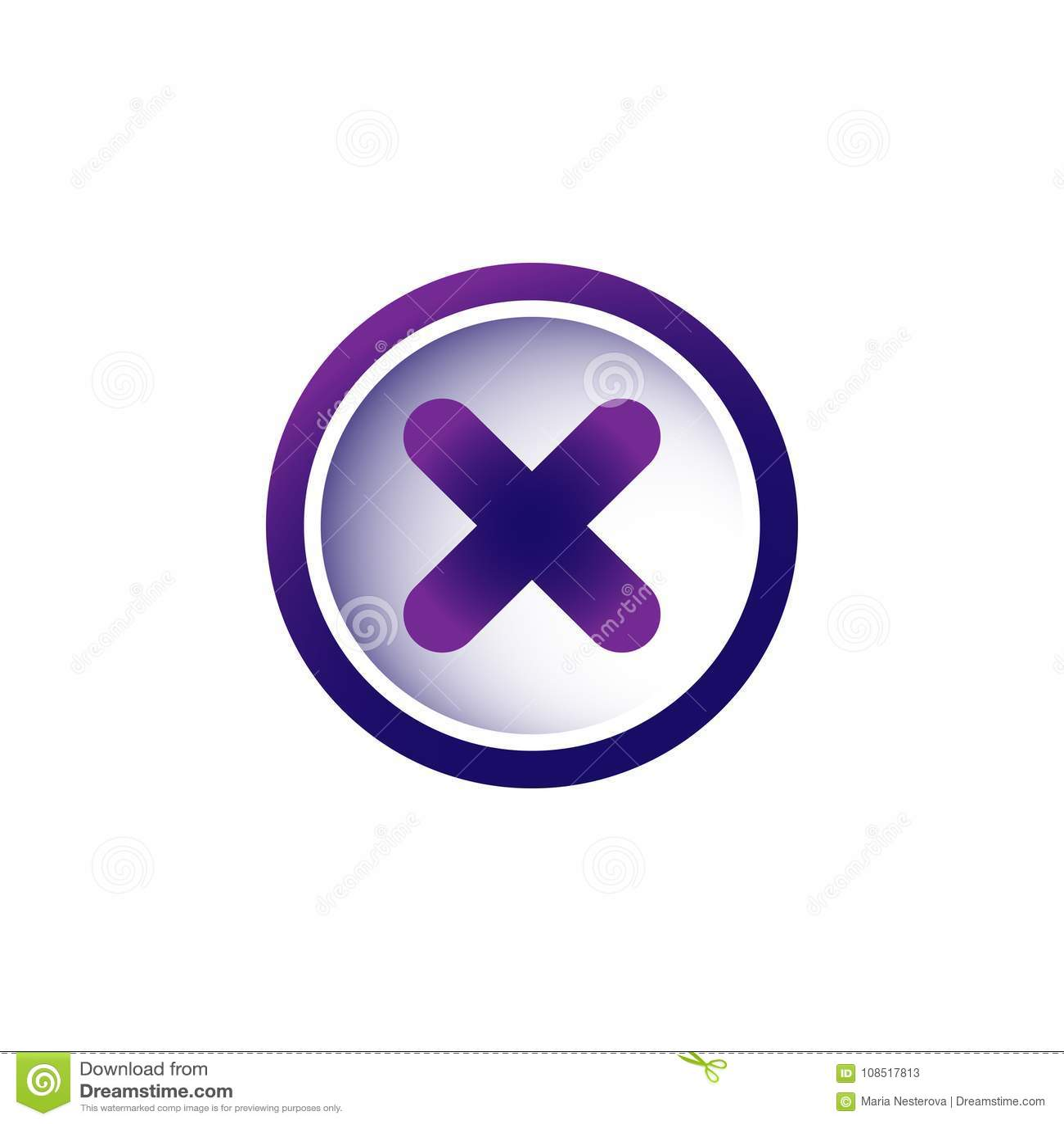 Violet Purple Cross In Purple Circle  Delete Button  Warning Error