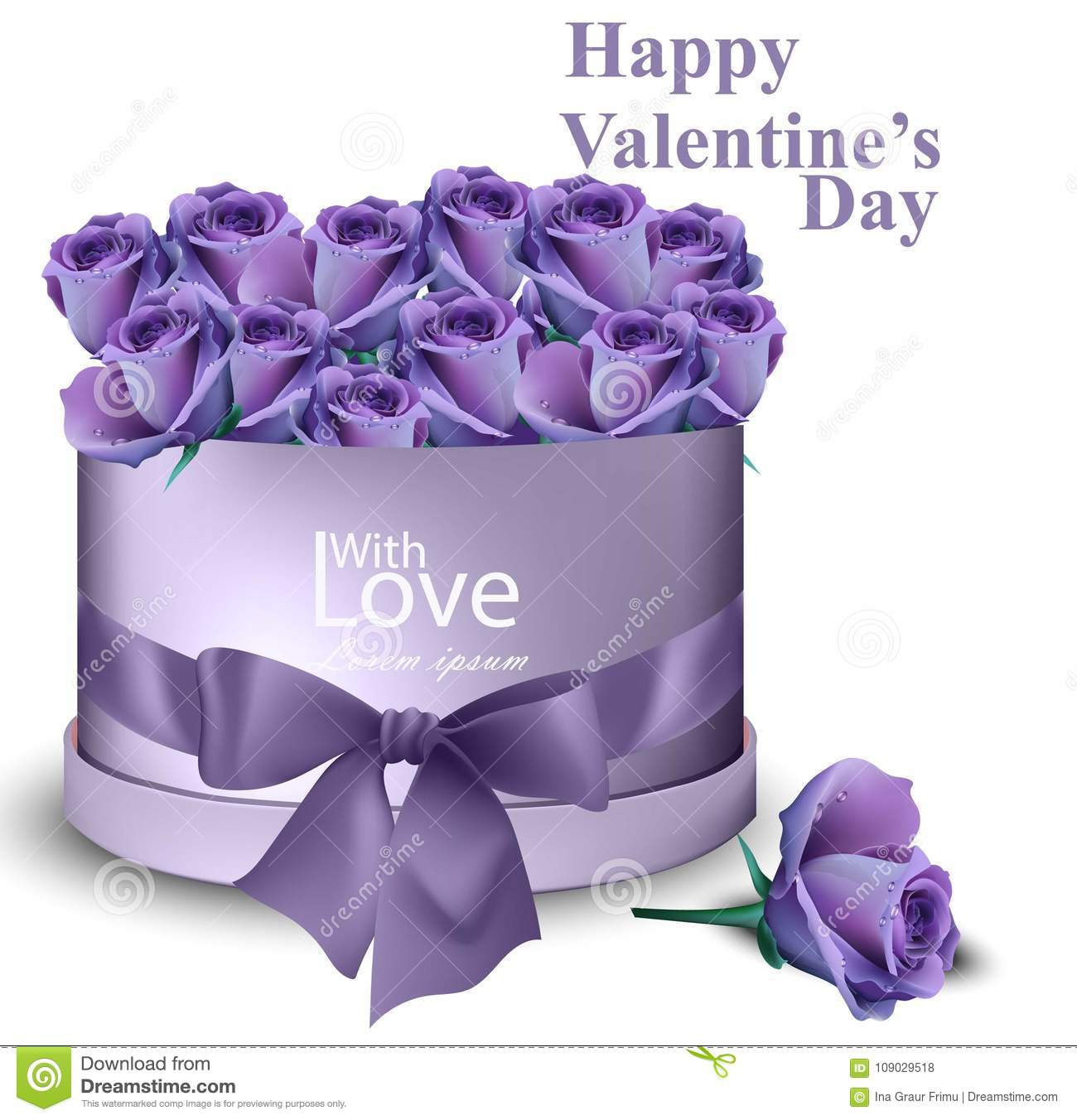 Violet Purple Roses In A Gift Box Vector Realistic Happy Mother Day