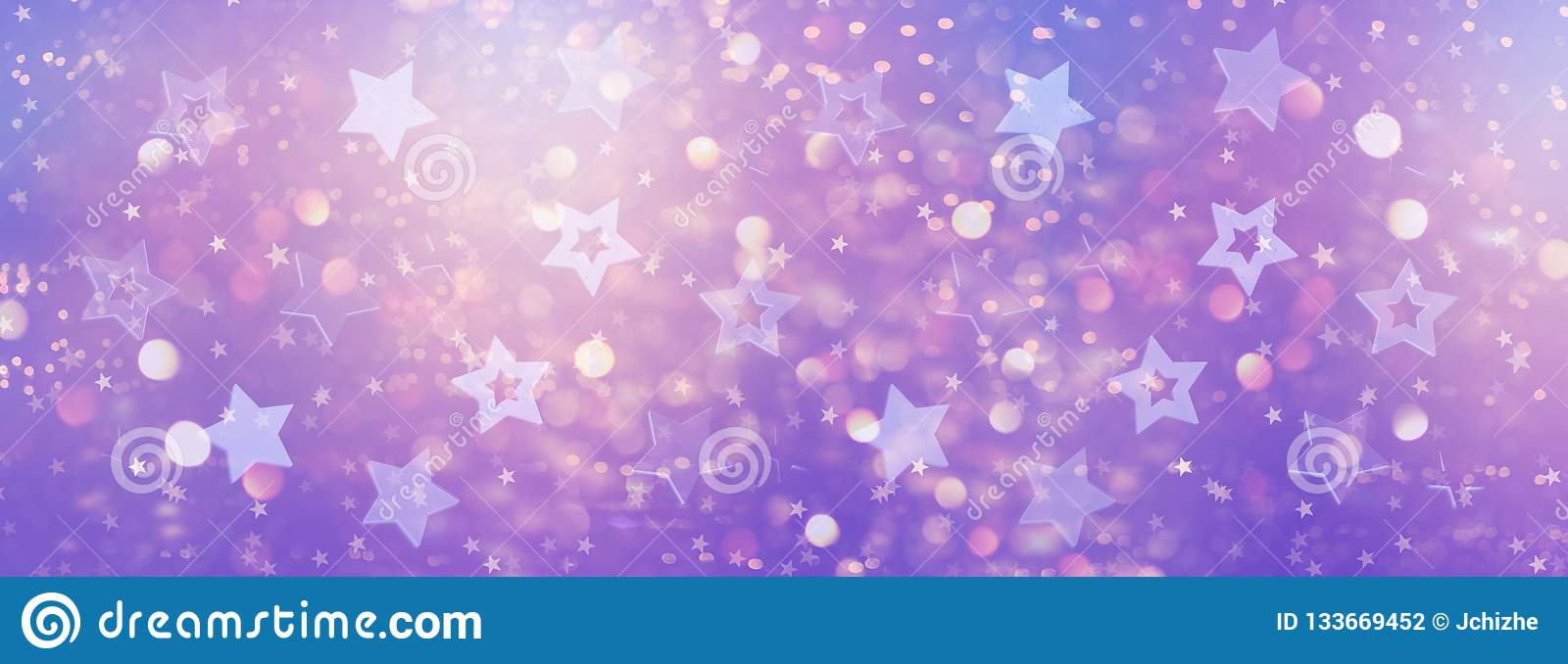 Violet, purple stars on gold background with bokeh. Texture for new year, birthday, baby shower party. Creative pattern. Banner