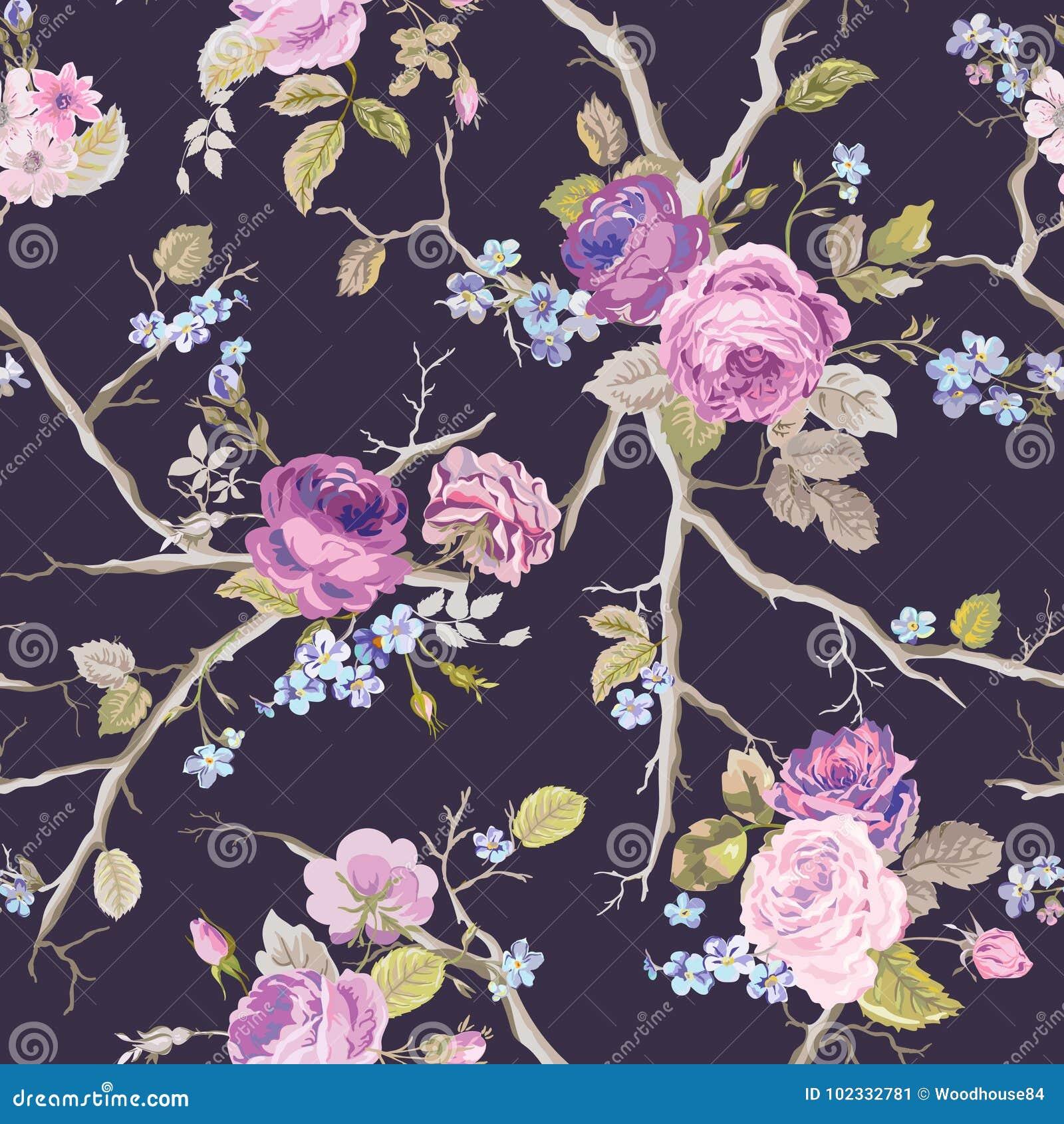 Violet Roses Flowers Texture Background Reticolo floreale senza giunte