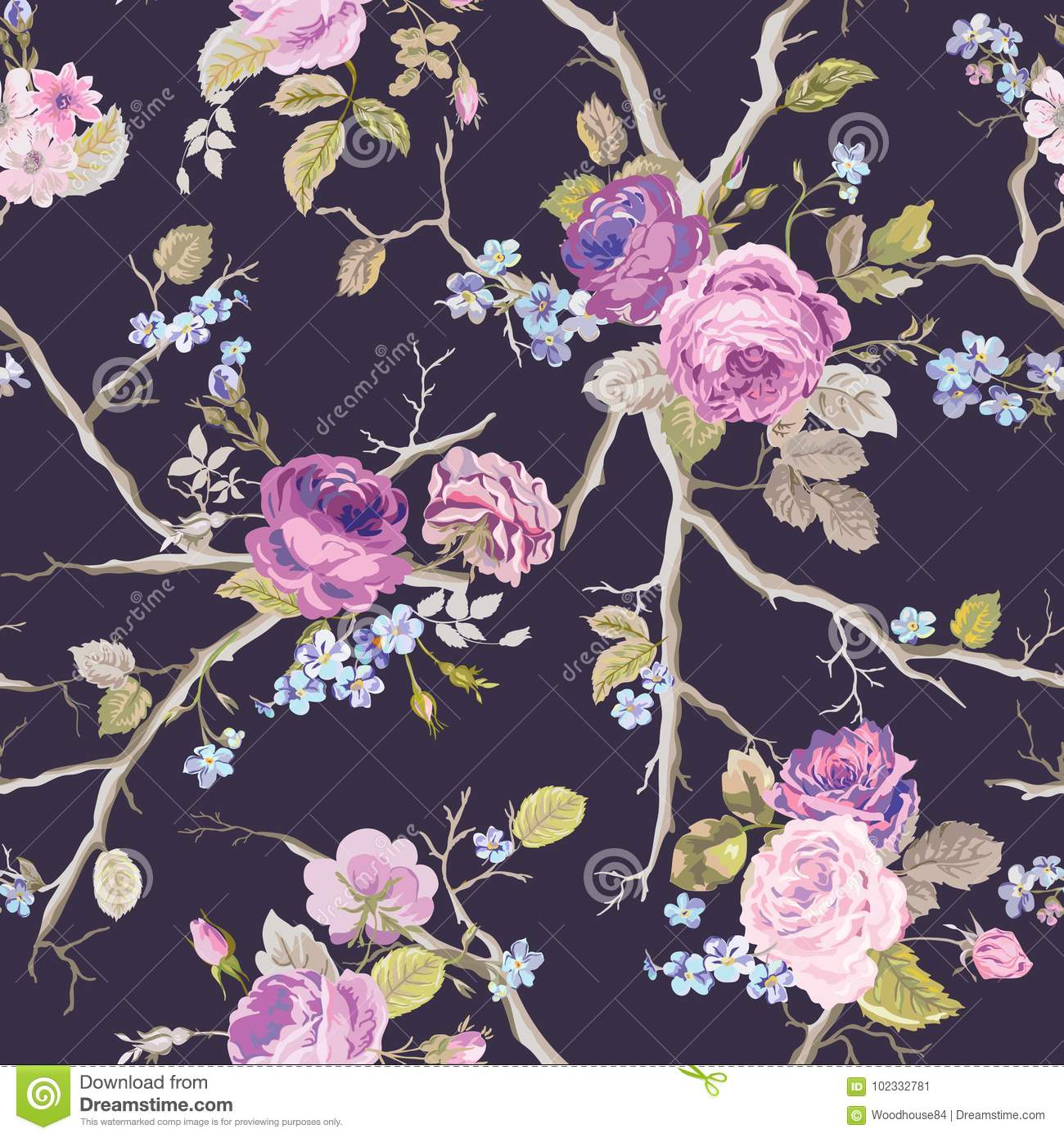 Violet Roses Flowers Texture Background seamless blom- modell