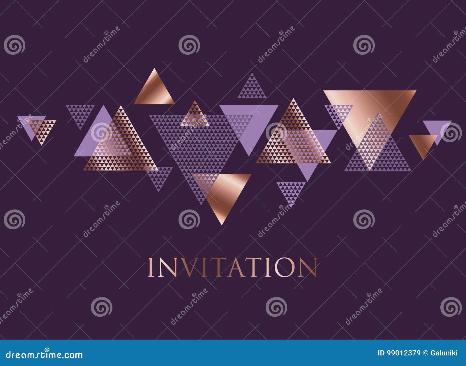 Violeta e dinâmica cor-de-rosa do triângulo do sumário do ouro