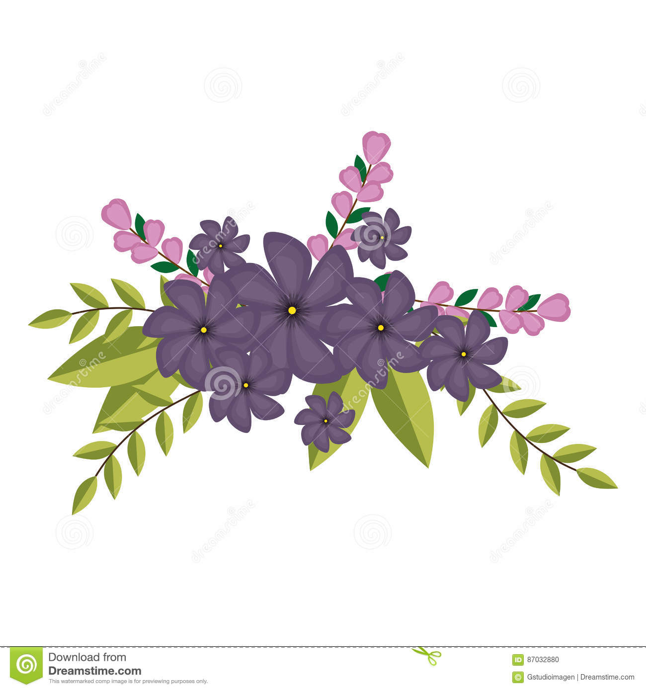 Violets Flowers Crown Floral Design With Leaves Stock Vector