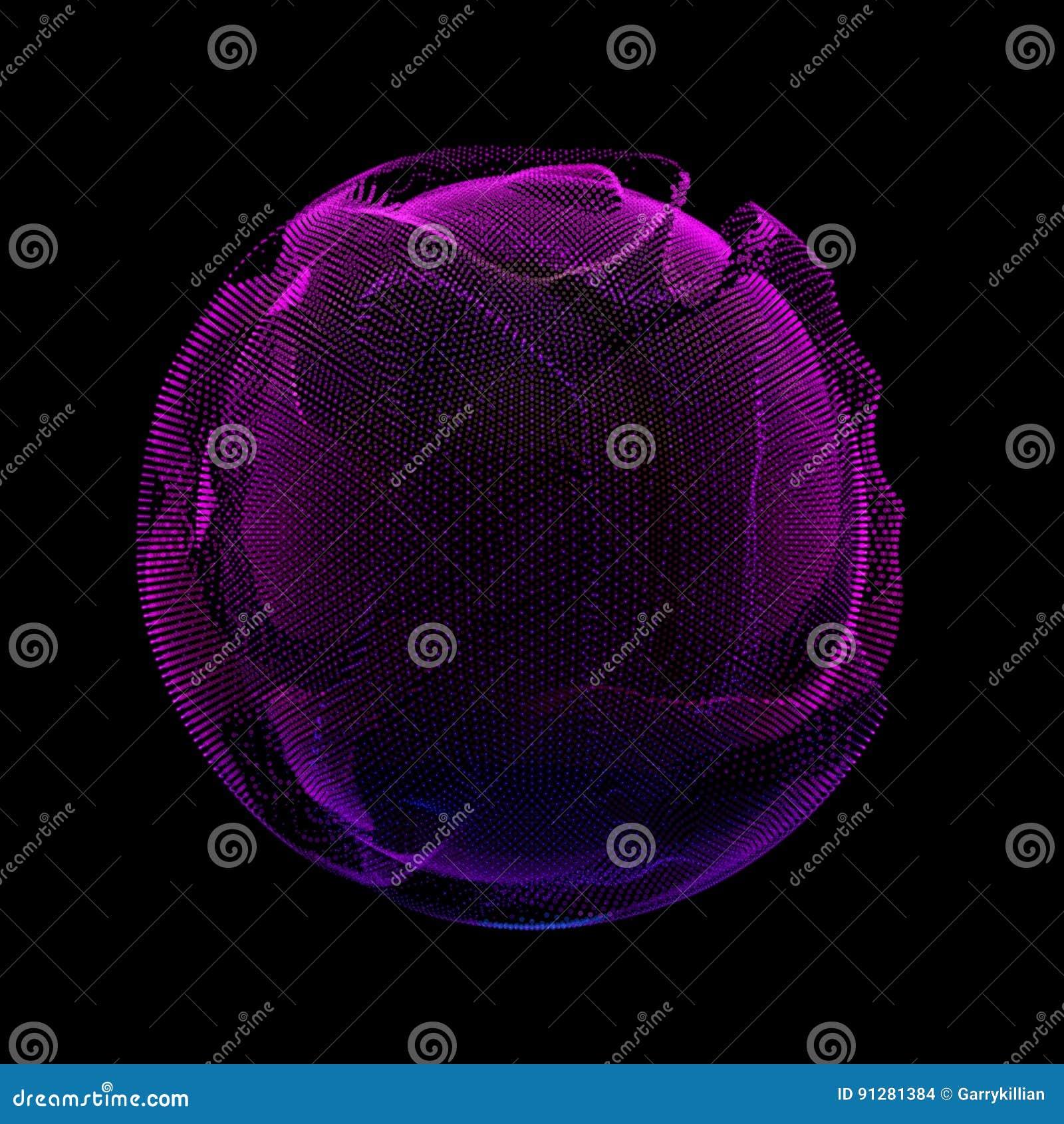 Violett färgrik ingreppssfär för abstrakt vektor på mörk bakgrund Futuristiskt stilkort