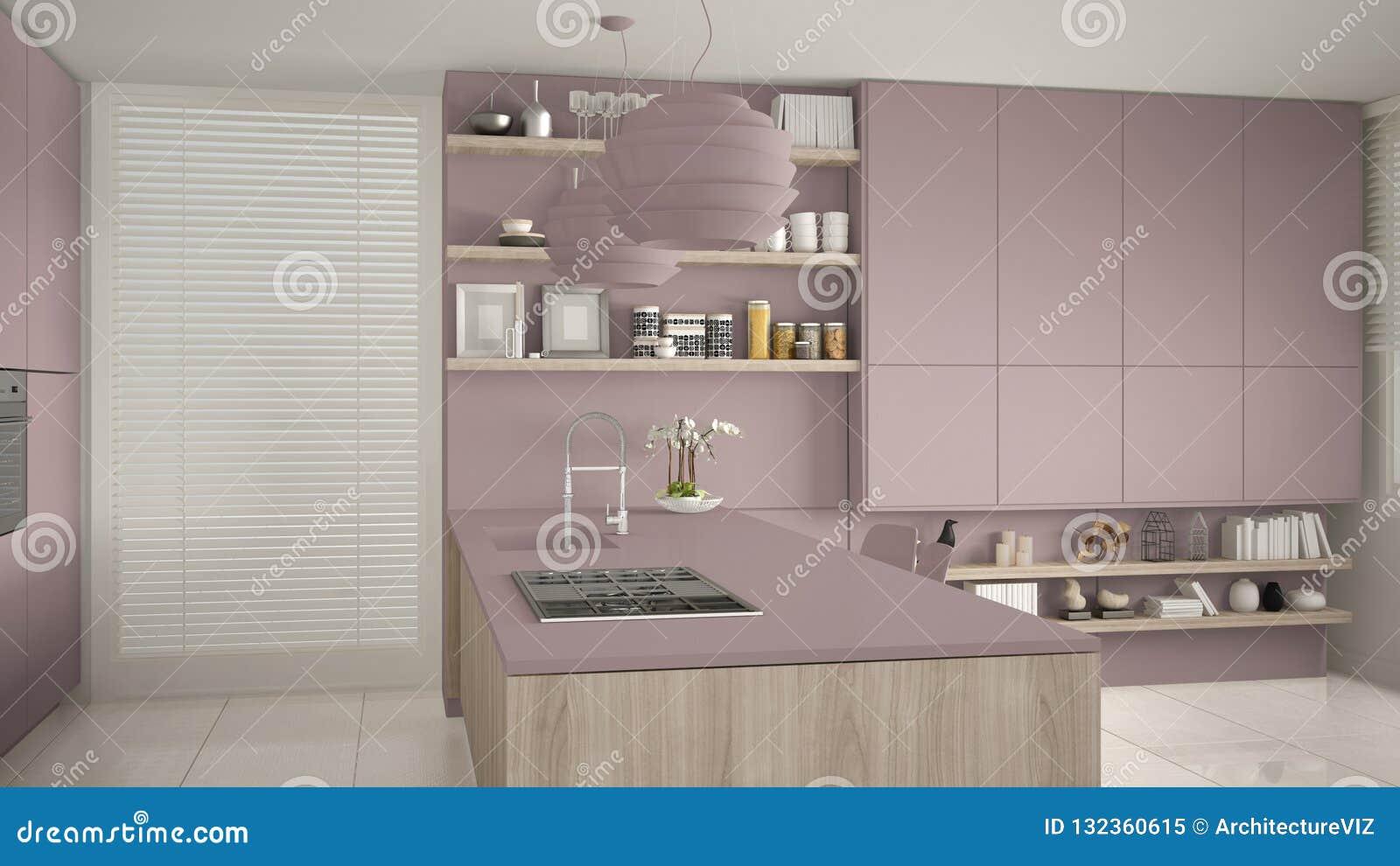 Cuisine Moderne Couleur Violet violette moderne et cuisine en bois avec des étagères et des