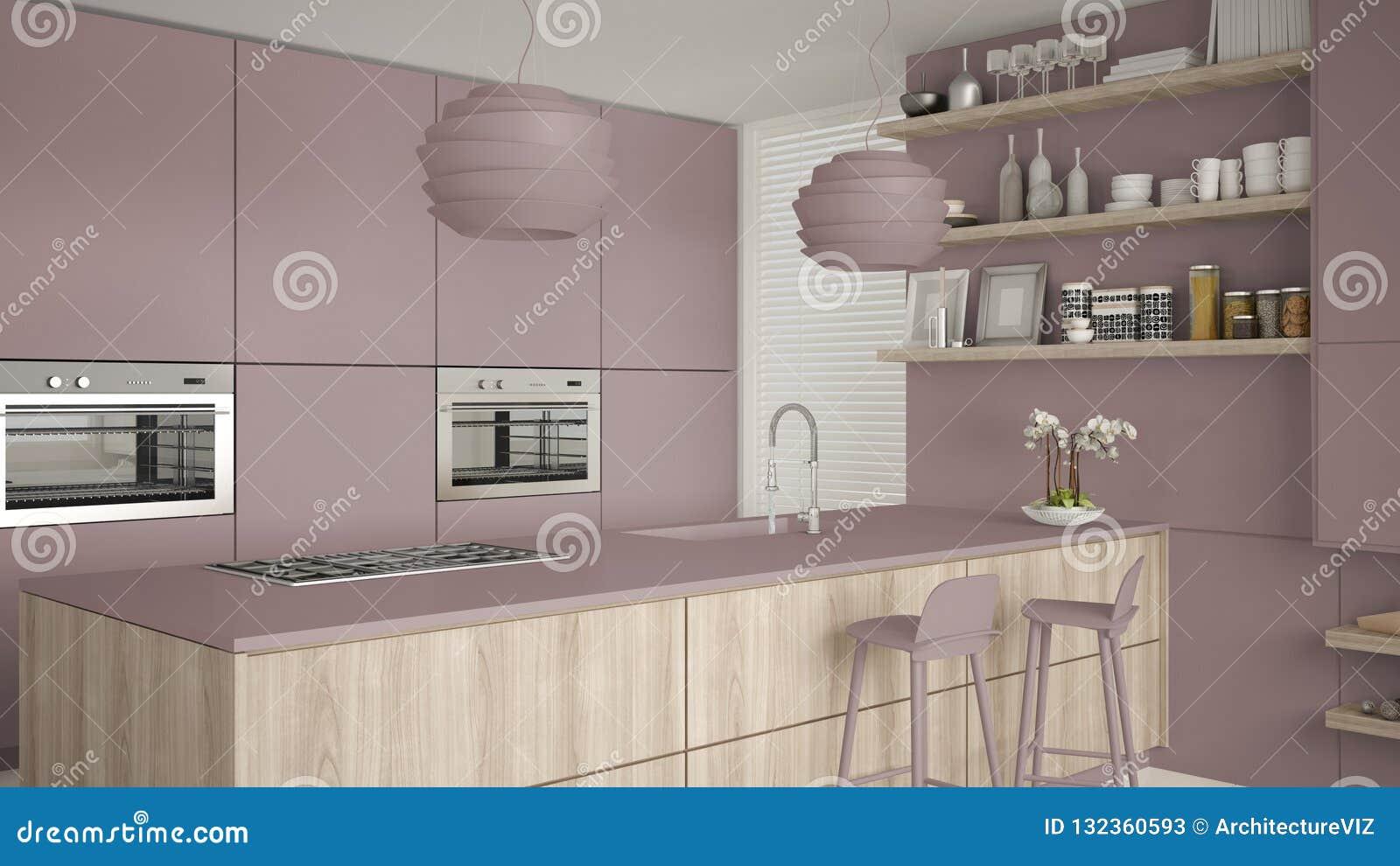Cuisine Moderne Couleur Violet violette moderne et cuisine en bois avec des étagères et