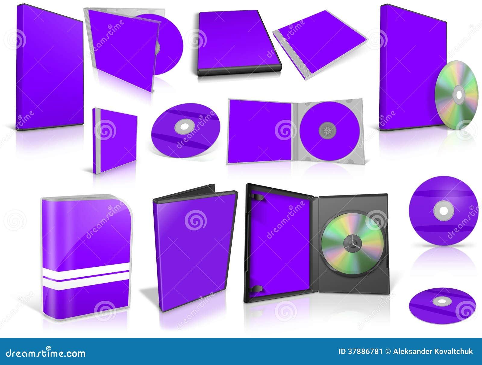 Violette schijven en dozen van verschillende media op wit