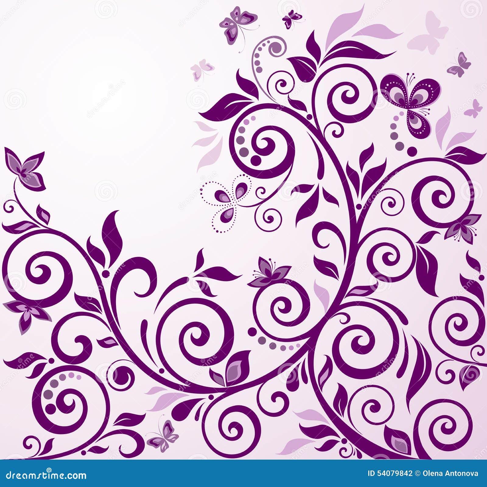 Violette uitstekende bloemenkaart