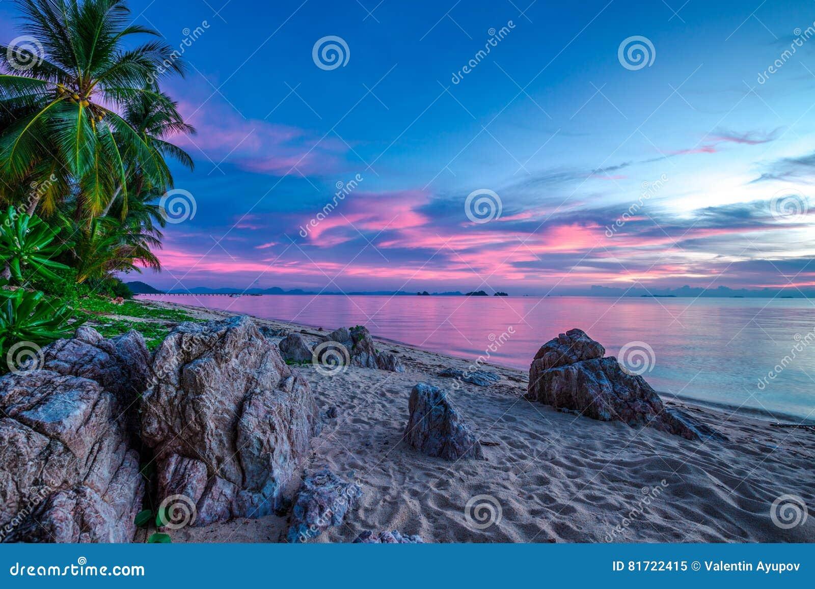 Violetter Sonnenuntergang über dem Meer und dem felsigen Strand