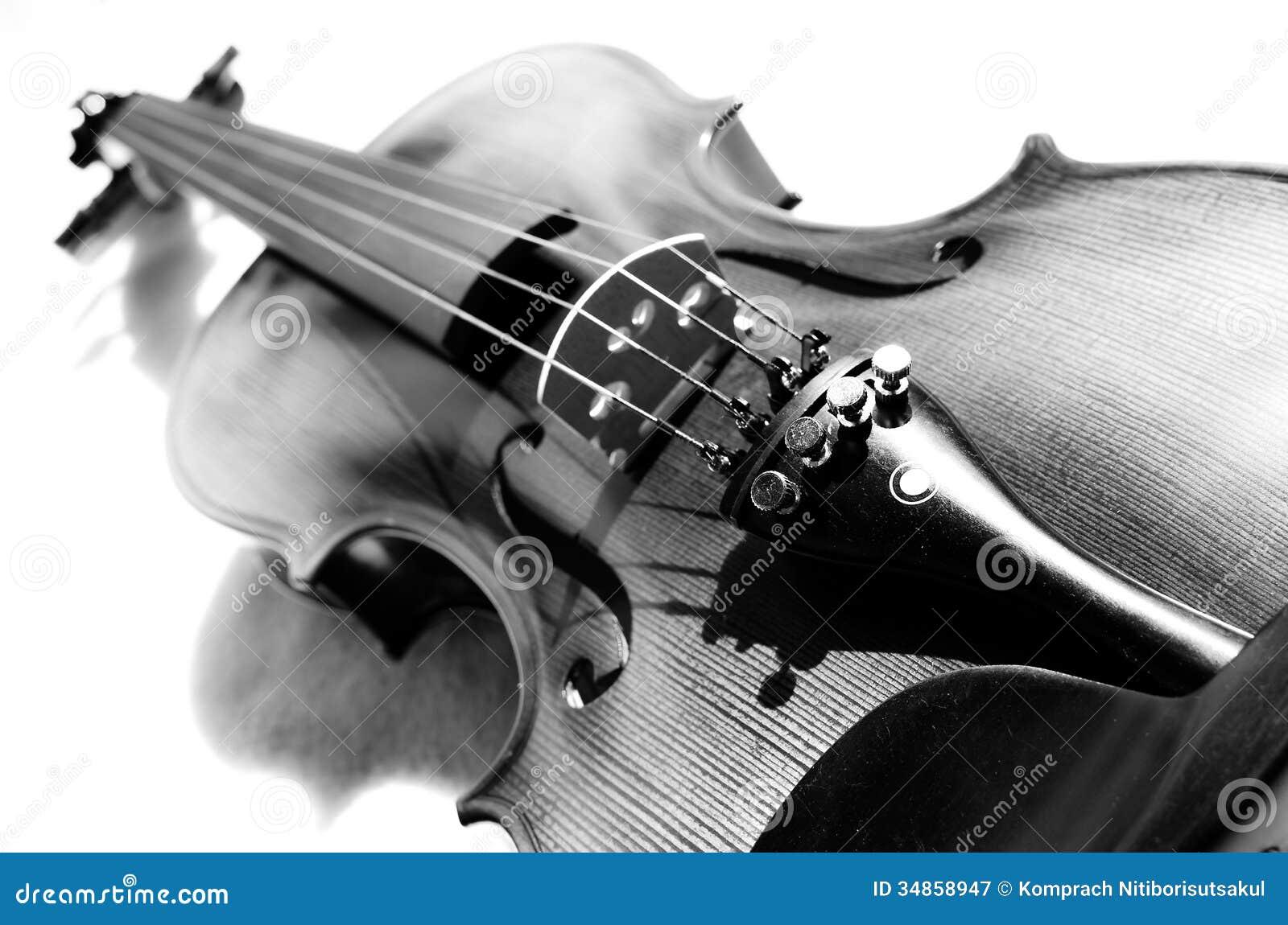 Violin in black and white.