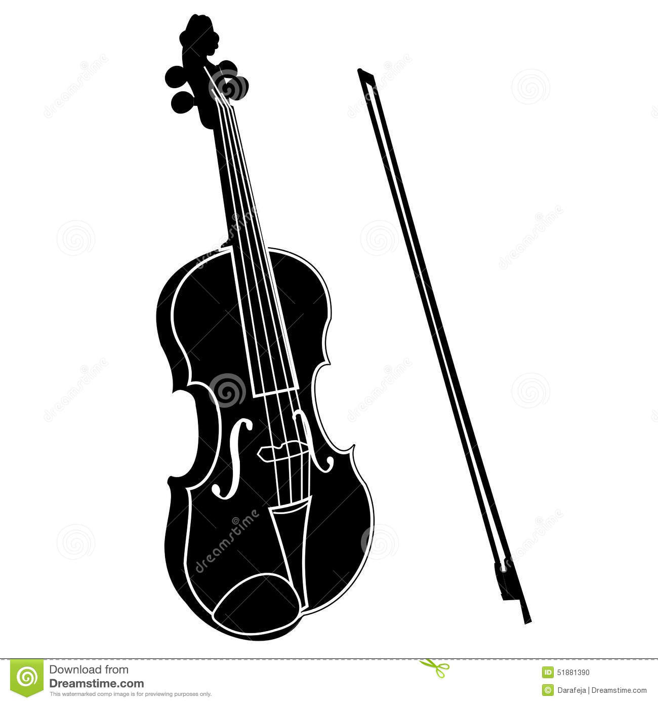 Violin With Bow Stock Vector Image 51881390