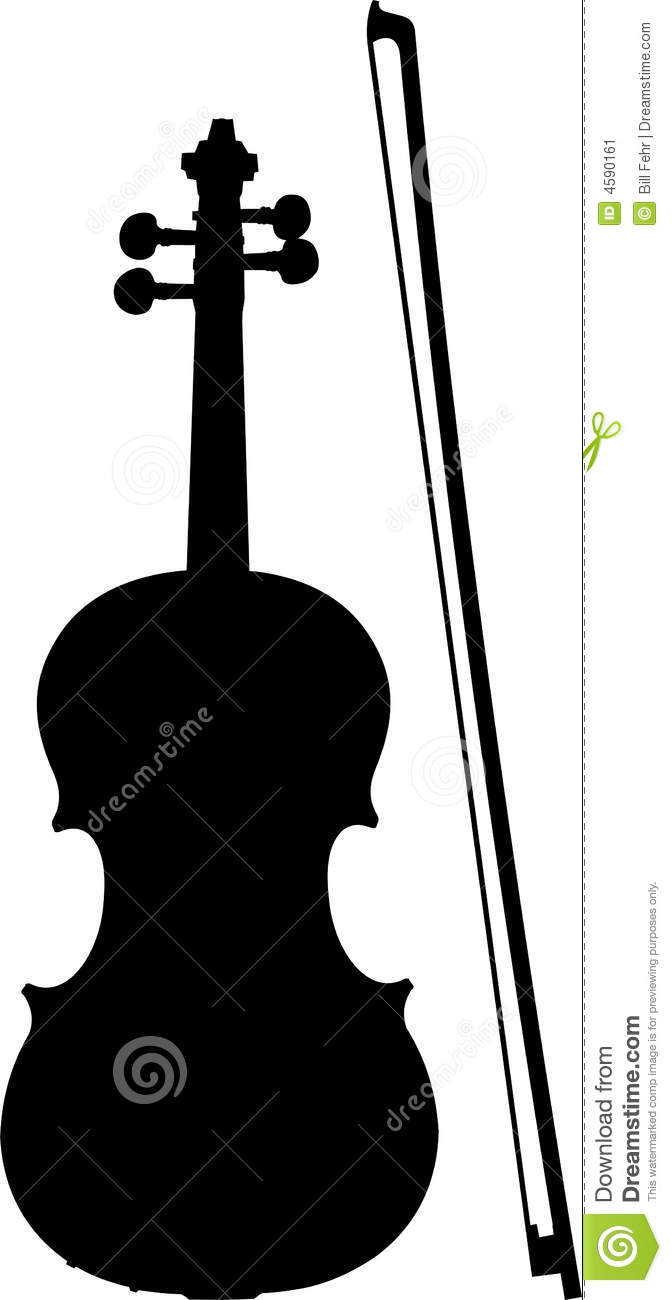 Violin And Bow Silhouette Stock Image - Image: 4590161