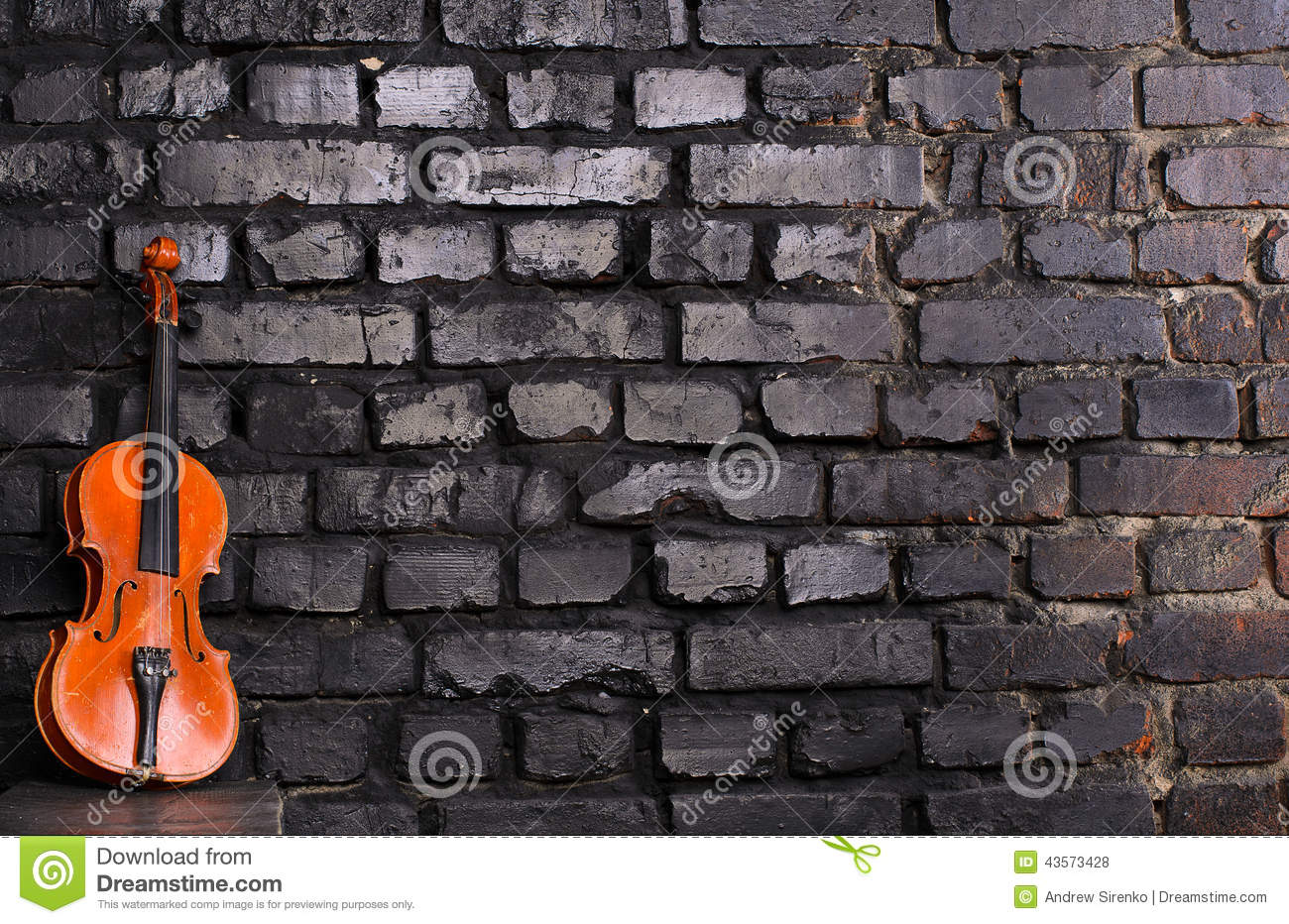 Violin On Brick Wall Background For Text Music Stock