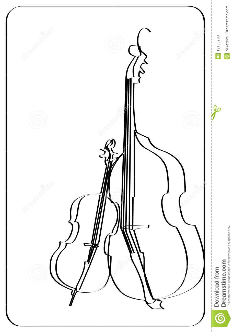 Line Drawing Violin : Violin and cello stock photo image