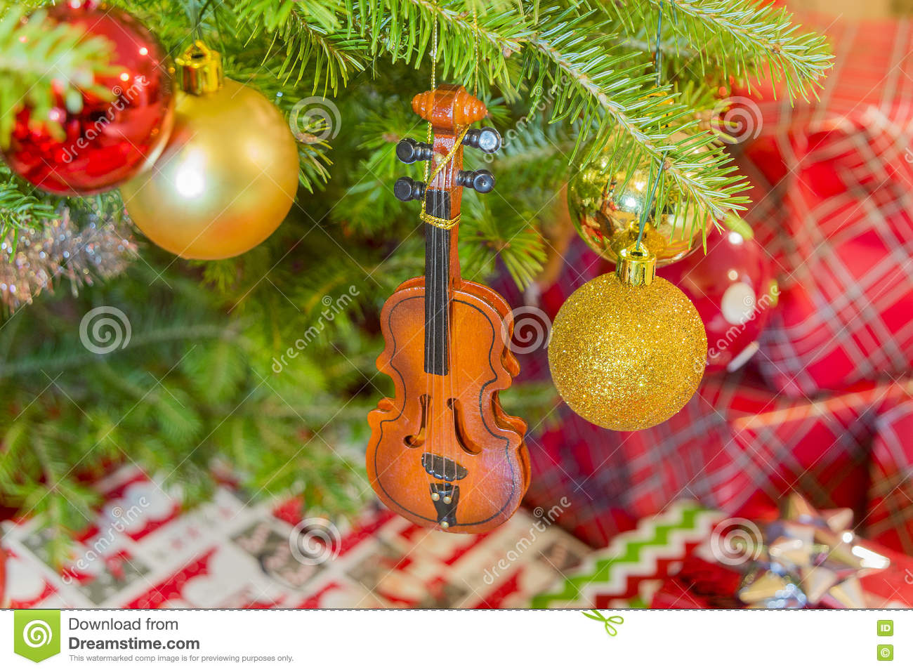 Violin christmas ornaments - Violin Cello Wooden Christmas Ornament Hanging From Tree With Gi