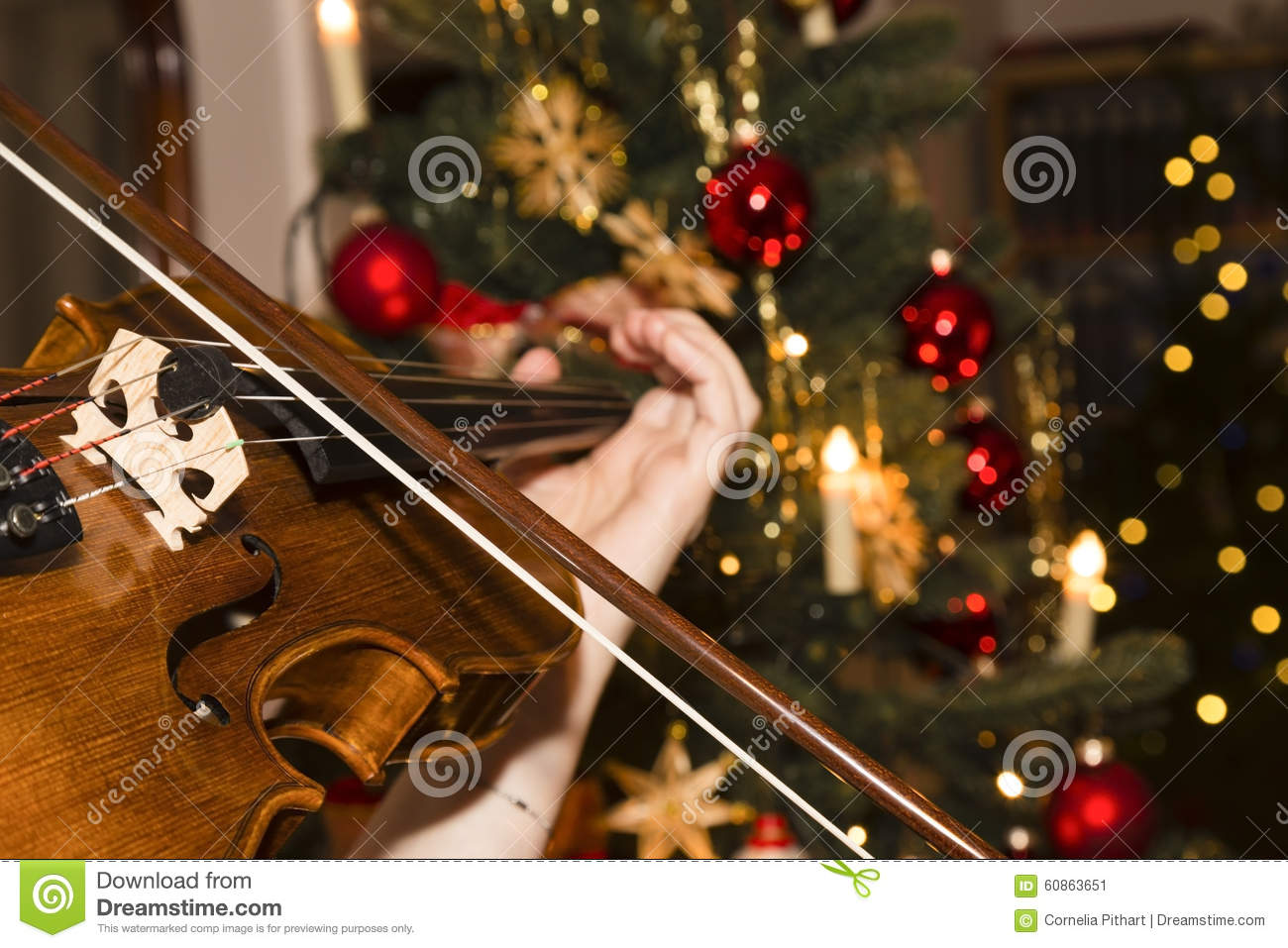 Violin christmas ornaments - Violin With Christmas Tree