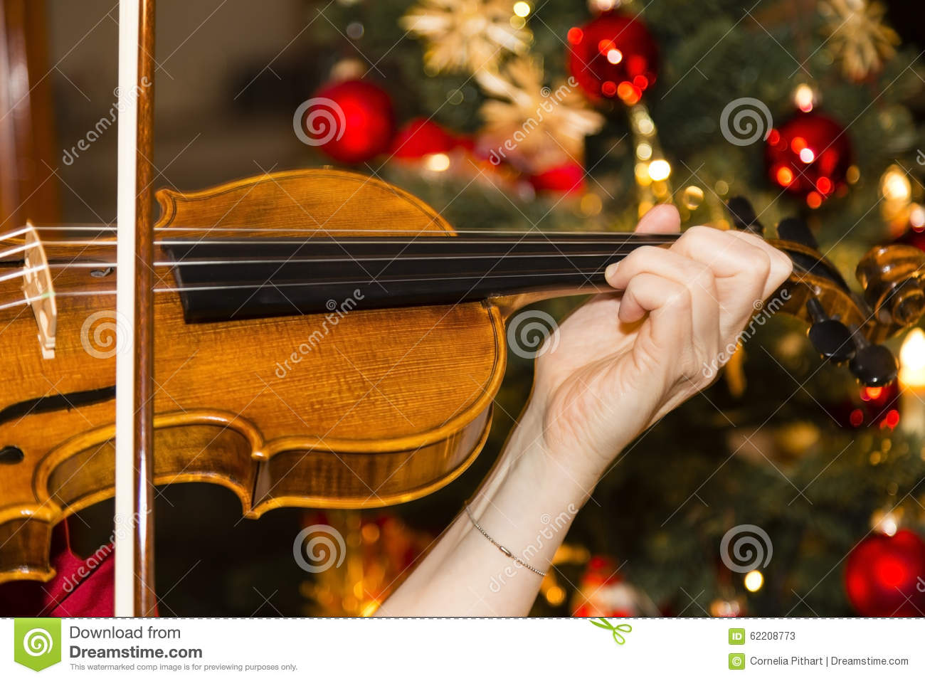 Violin christmas ornaments - Violin With Christmas Tree Stock Photos