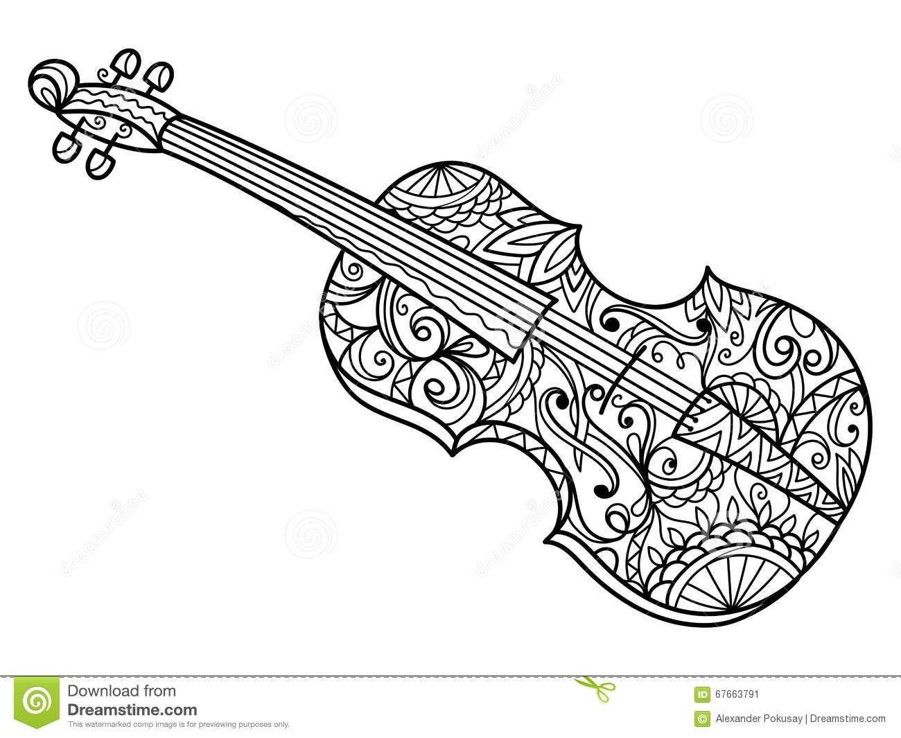 Violin Coloring Book For Adults Vector Stock Vector