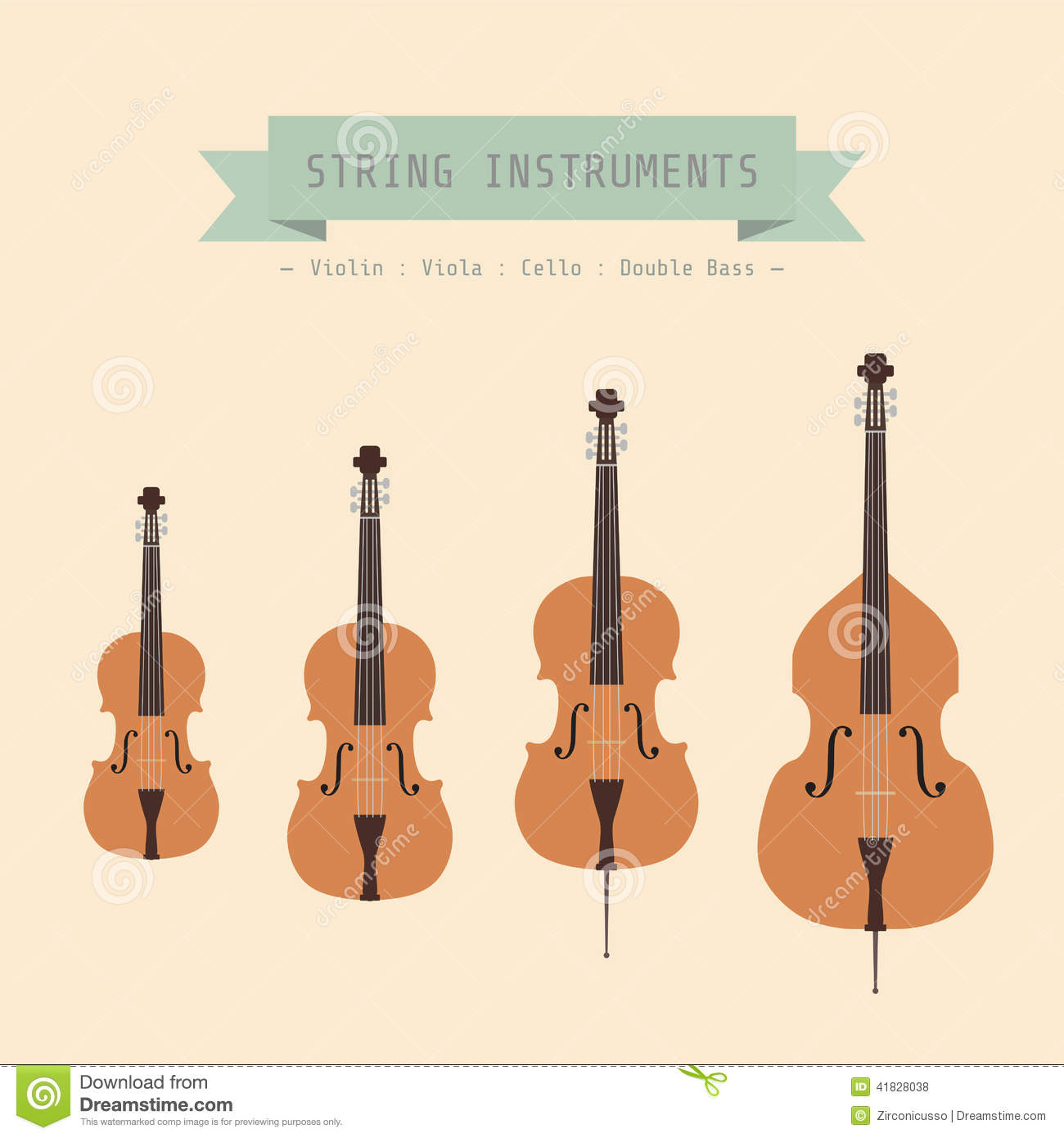 ... Instrument String, Violin, Viola, Cello and Double Bass, flat style