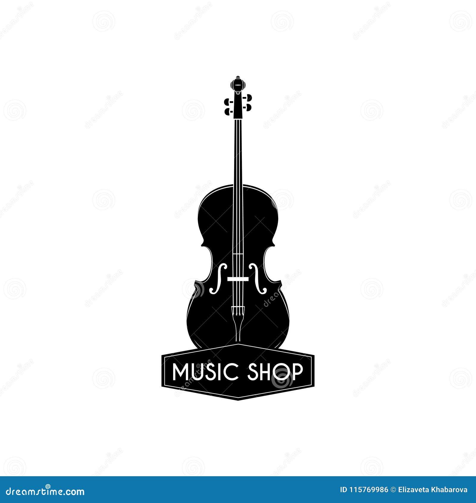 Violin Icon  Music Shop Logo Label Badge  Classical Music  Musical
