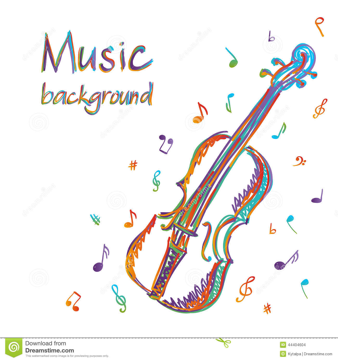 Music Vector Background With Violin And Notes Stock Photos - Image ...