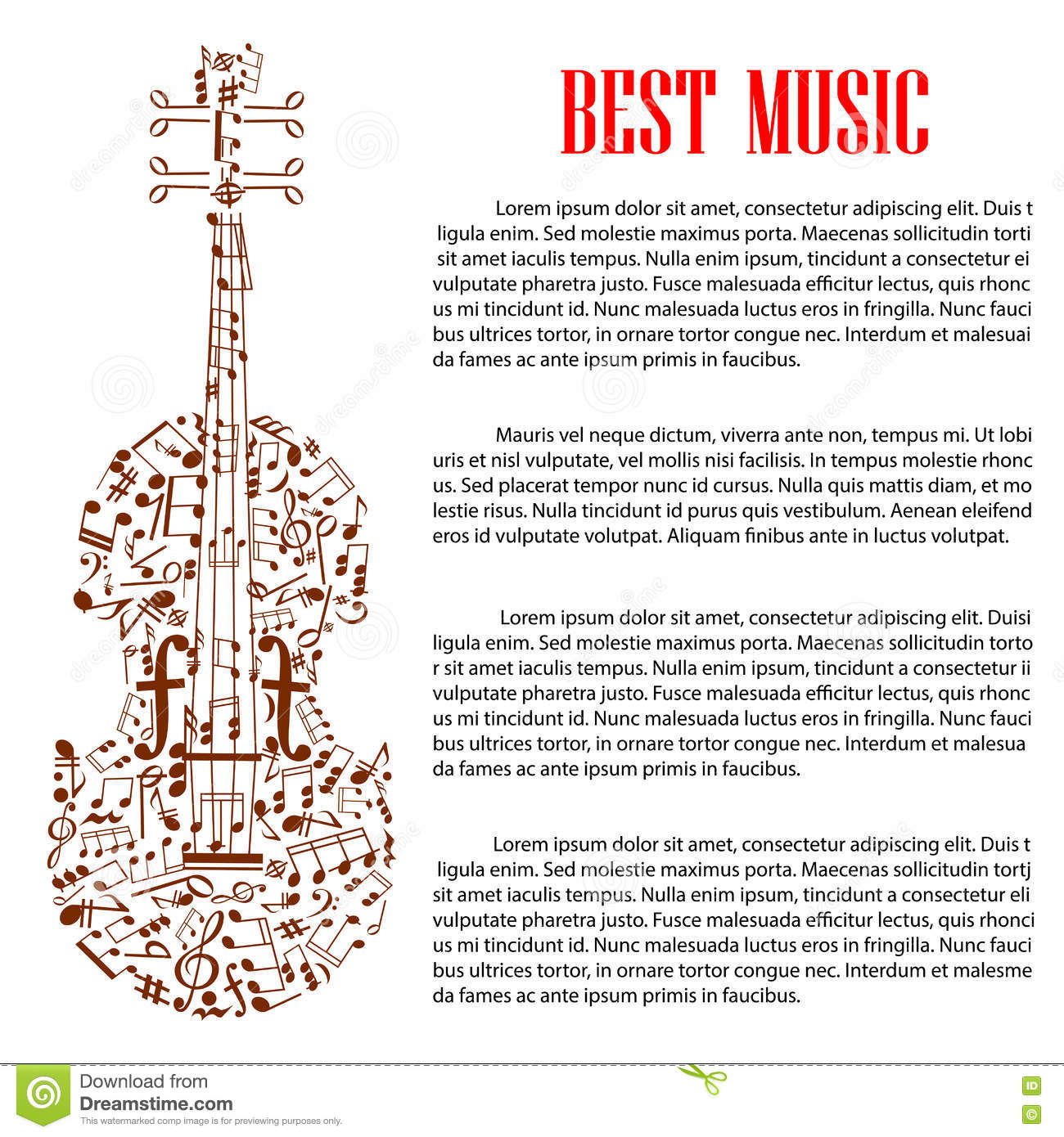 violin with musical notes for arts template design stock vector