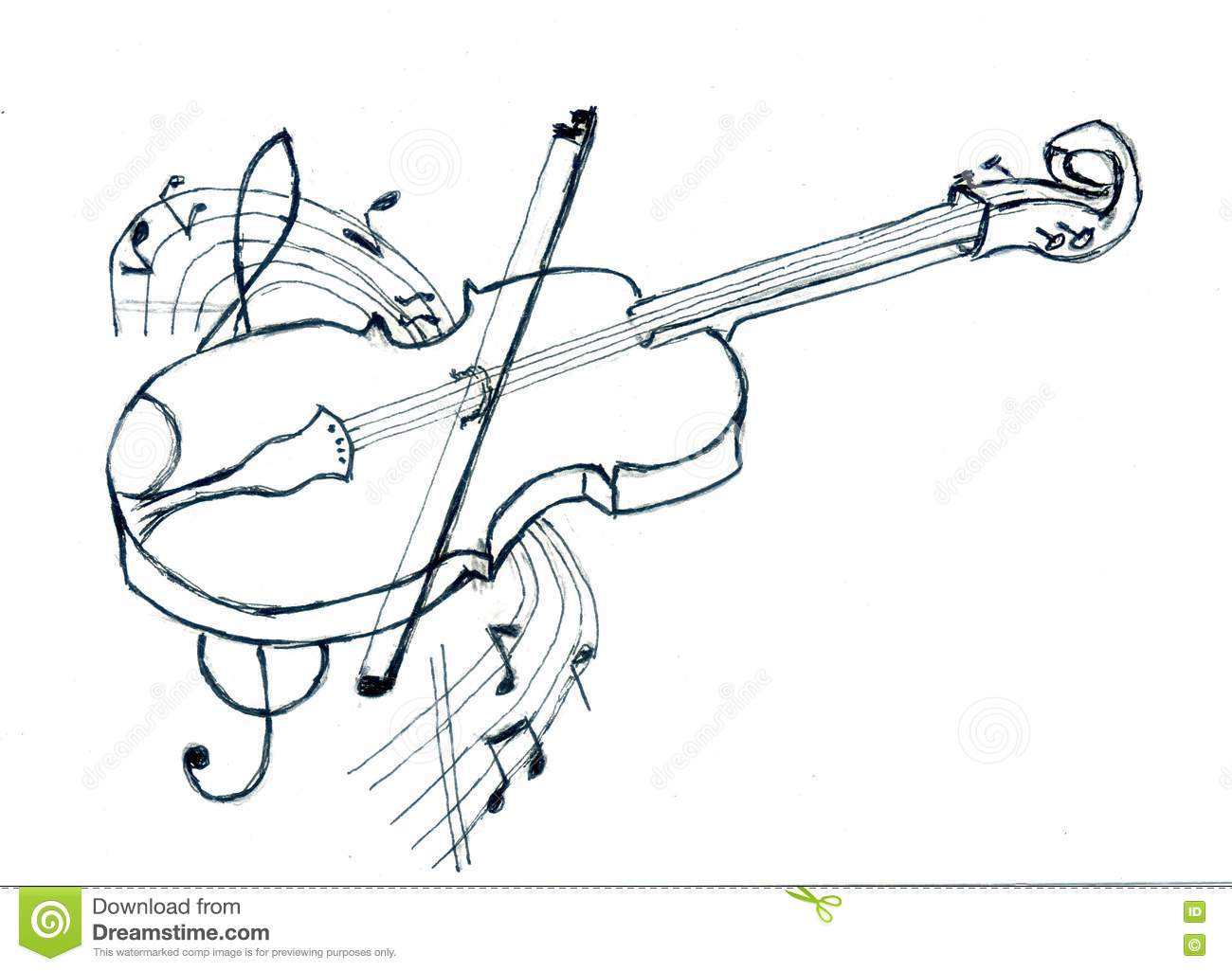 violin with notes sketch stock illustration illustration