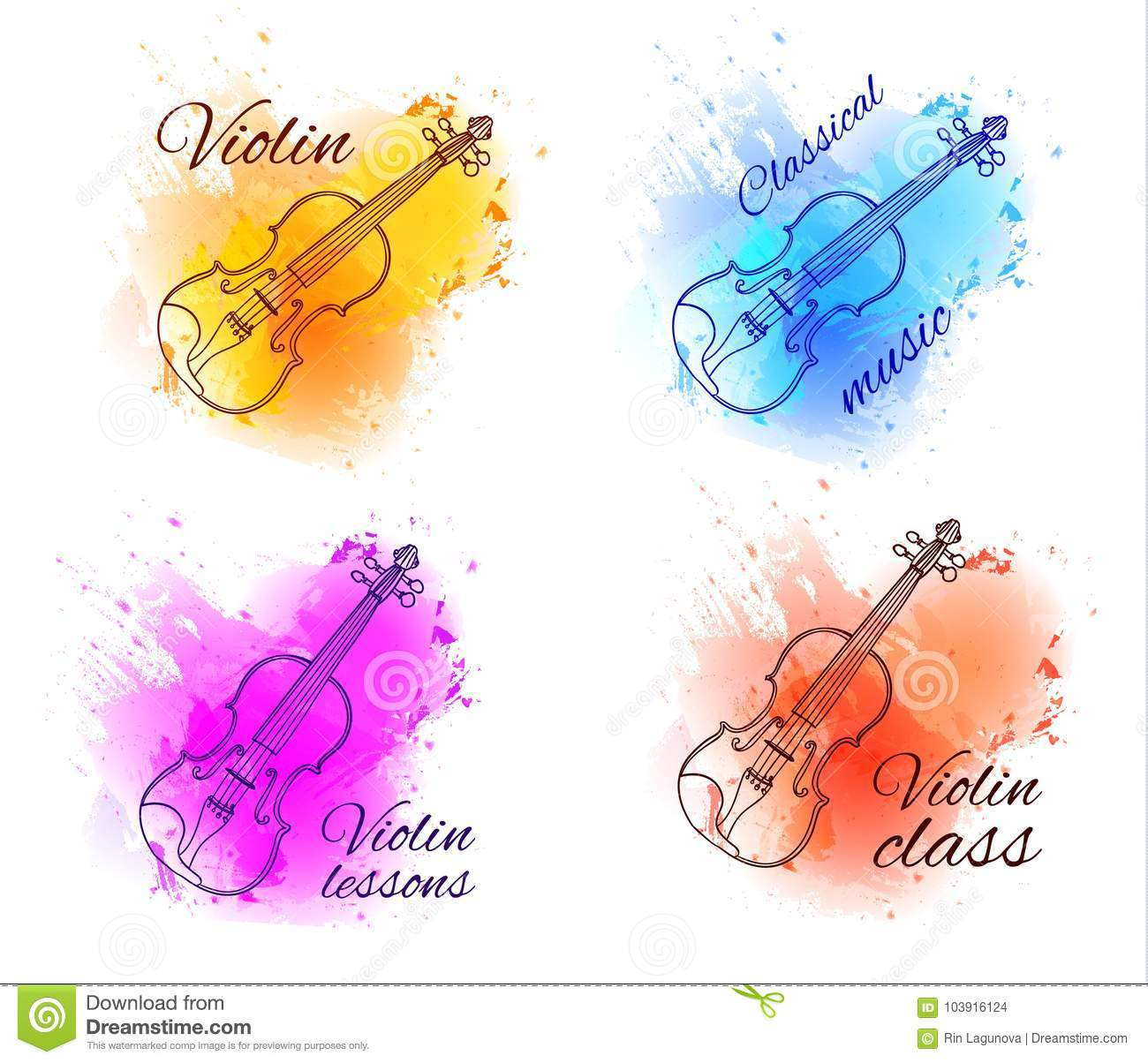 Violin Outline Drawing Contour Line On Paint Splash Abstract