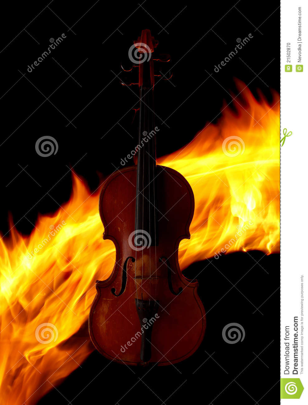 Violin over fire background