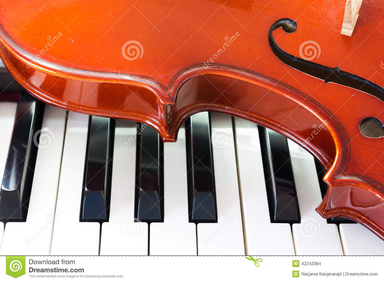 Violin and piano keyboard stock photo  Image of background - 42242384