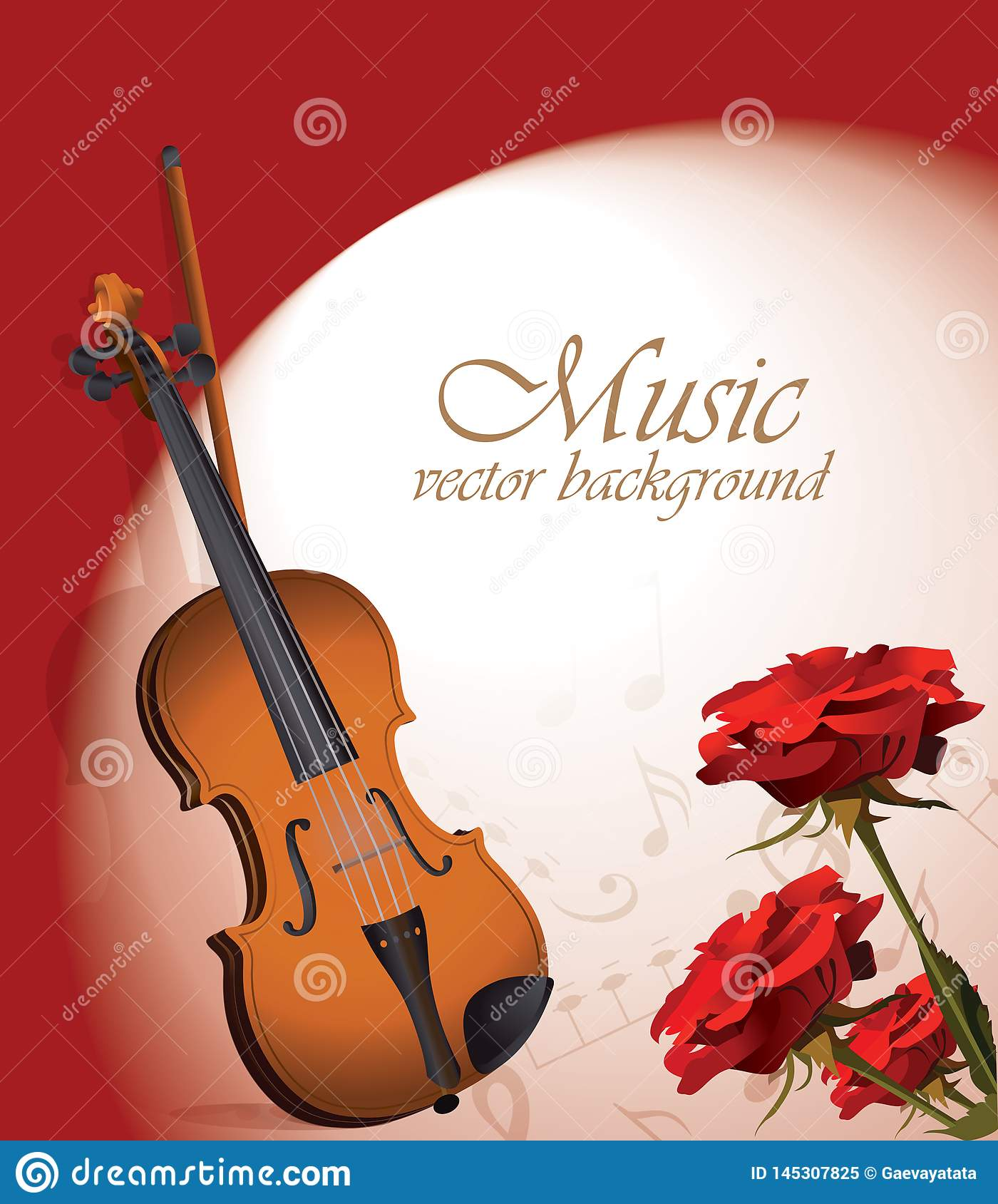 Violin and red roses