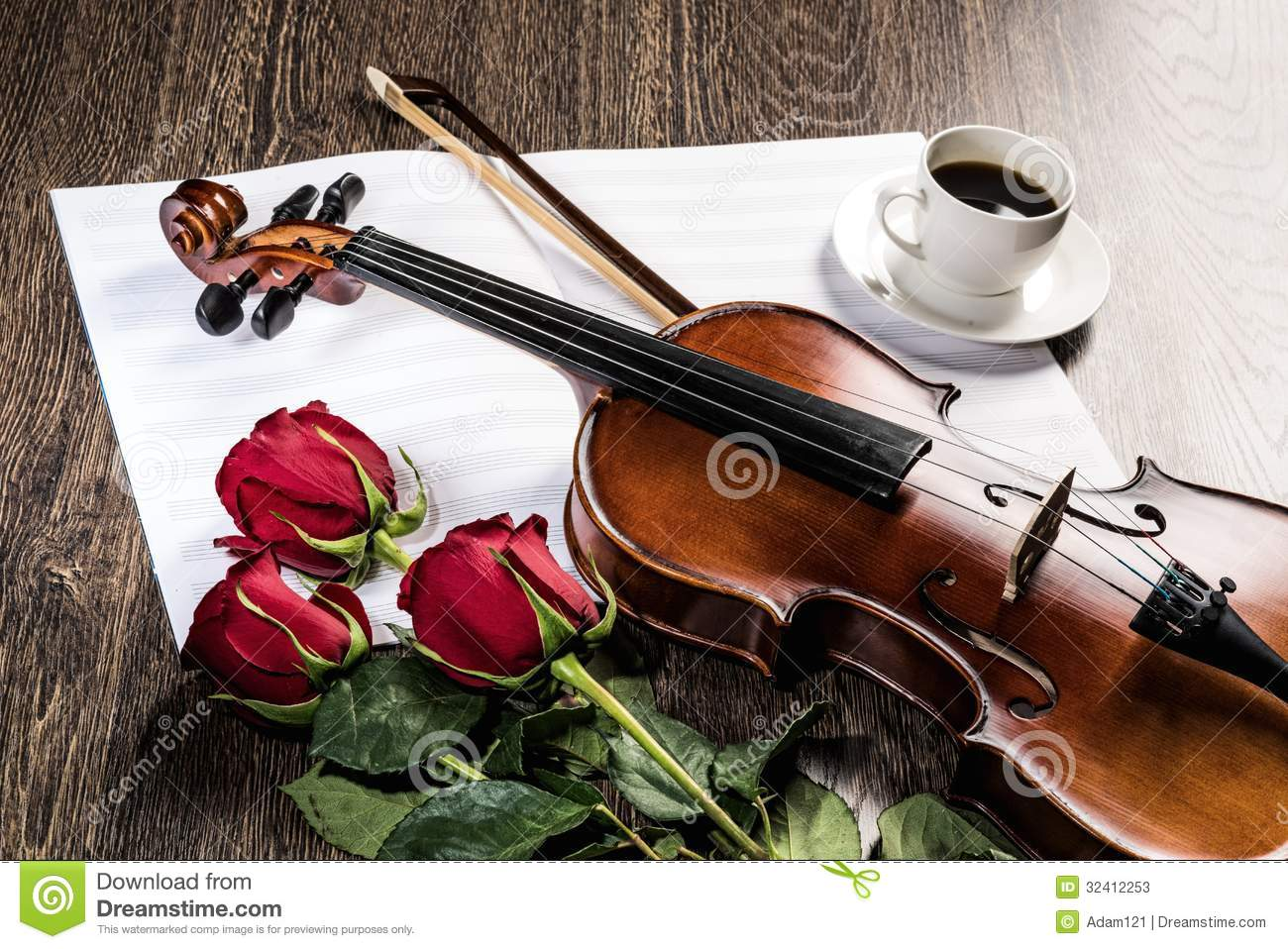 Violin, Rose, Coffee And Music Books Stock Image - Image ...