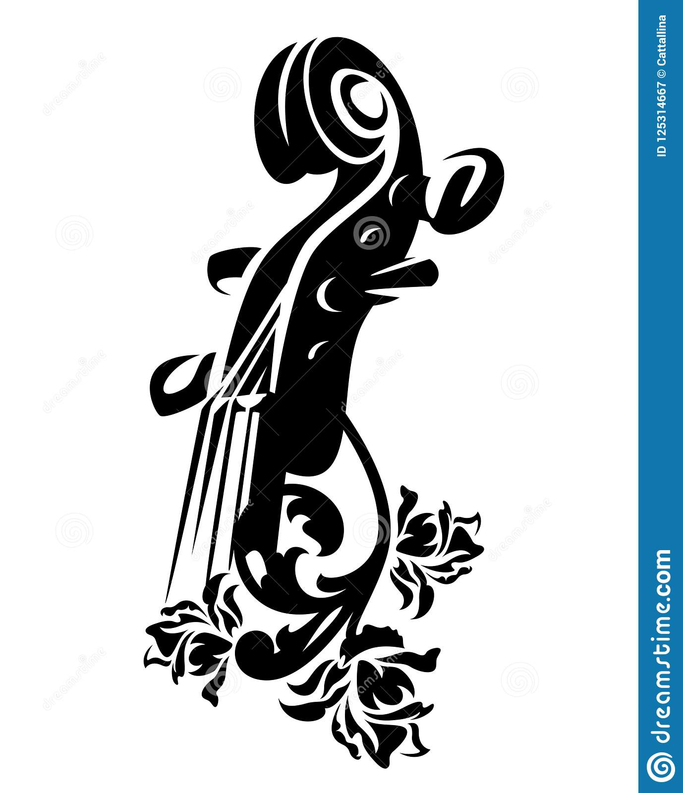 Violin Among Rose Flowers Vector Design Stock Vector Illustration