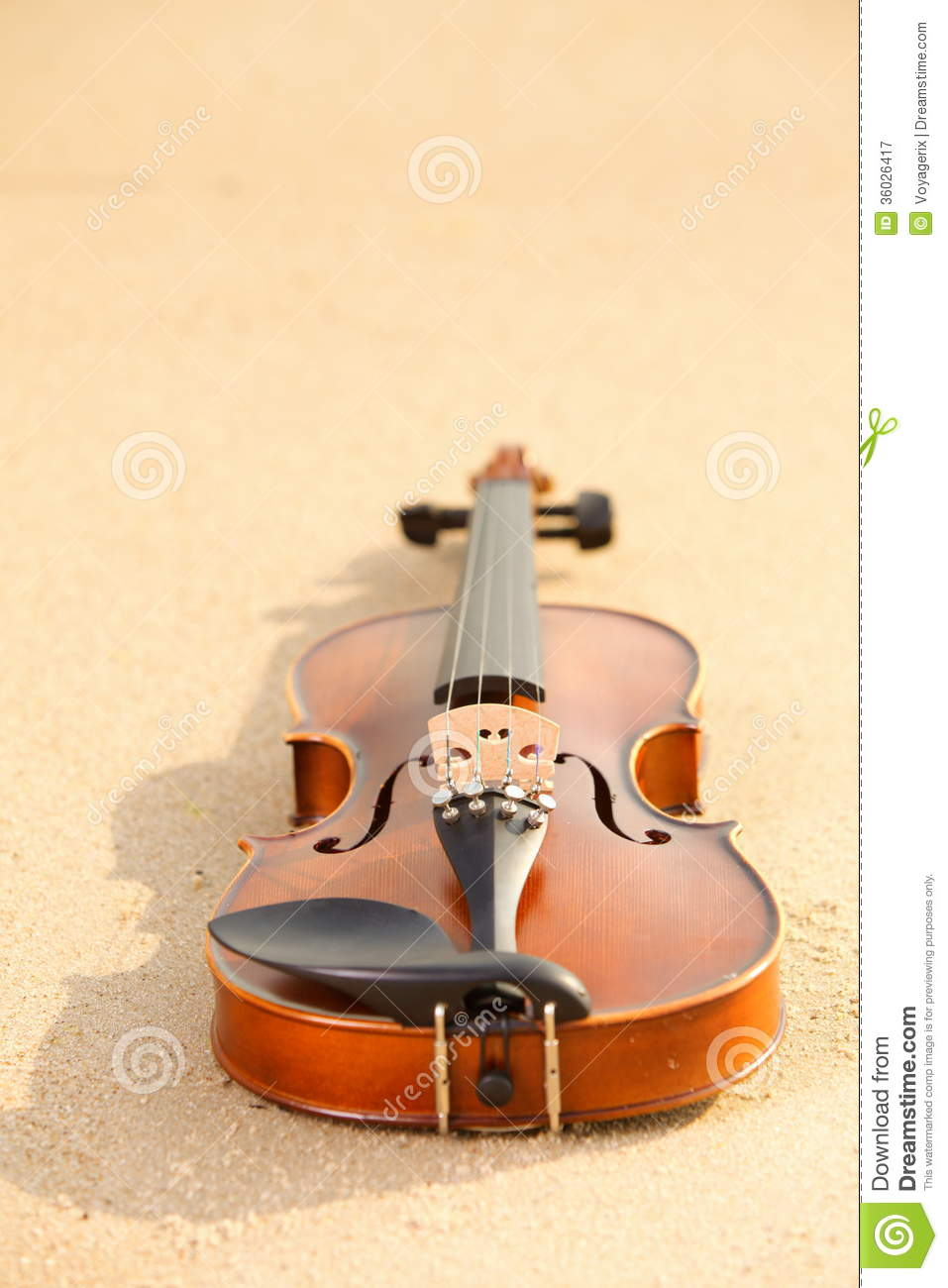 Violin On Sandy Beach. Music Concept Stock Image - Image of concert ...