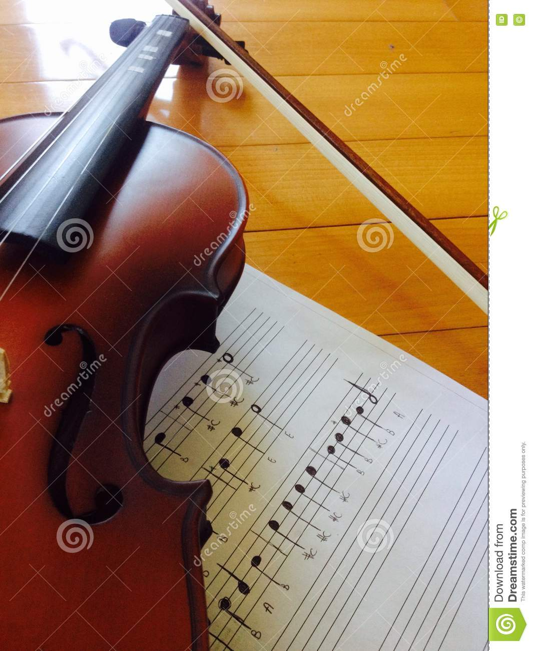 Violin with sheet music