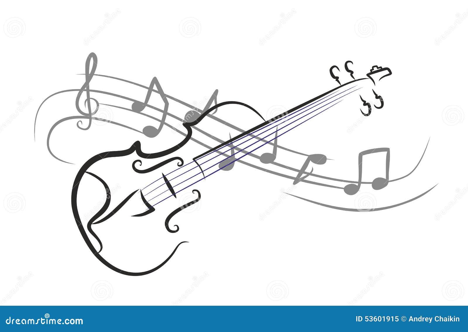 violin with notes sketch stock photo cartoondealercom