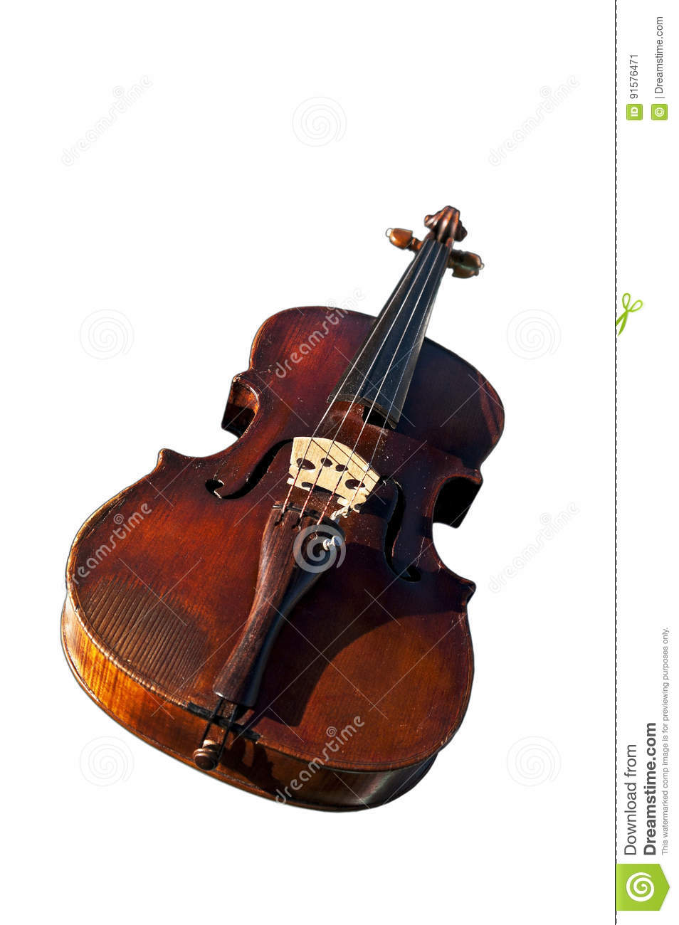 Solo Violin Cutout White Background Stock Image - Image of