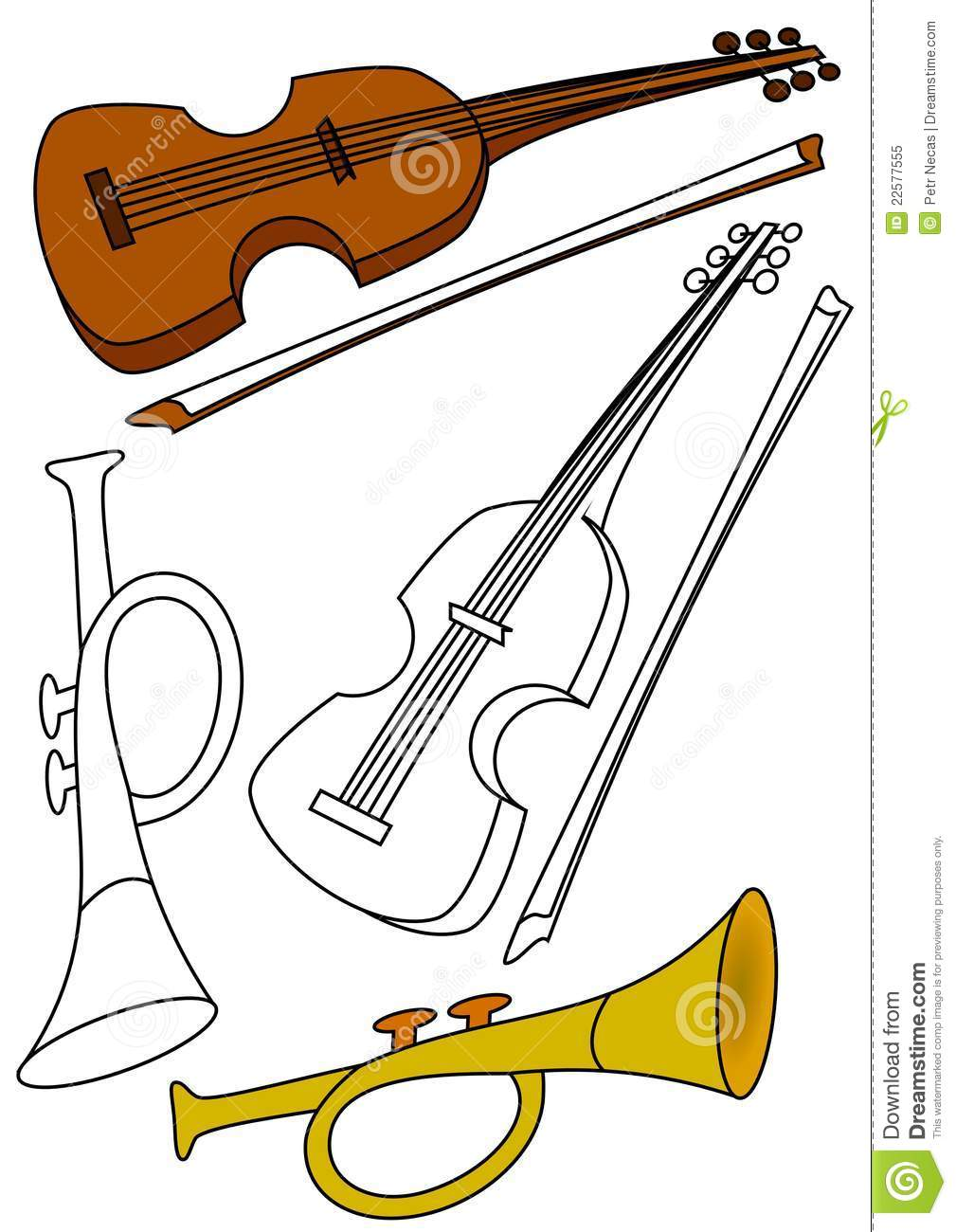 Violin And Trumpet Coloring Stock Illustration Illustration Of