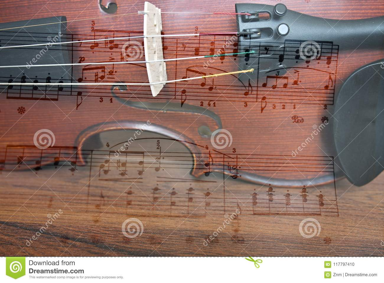 Violin and note stock photo  Image of melody, wood