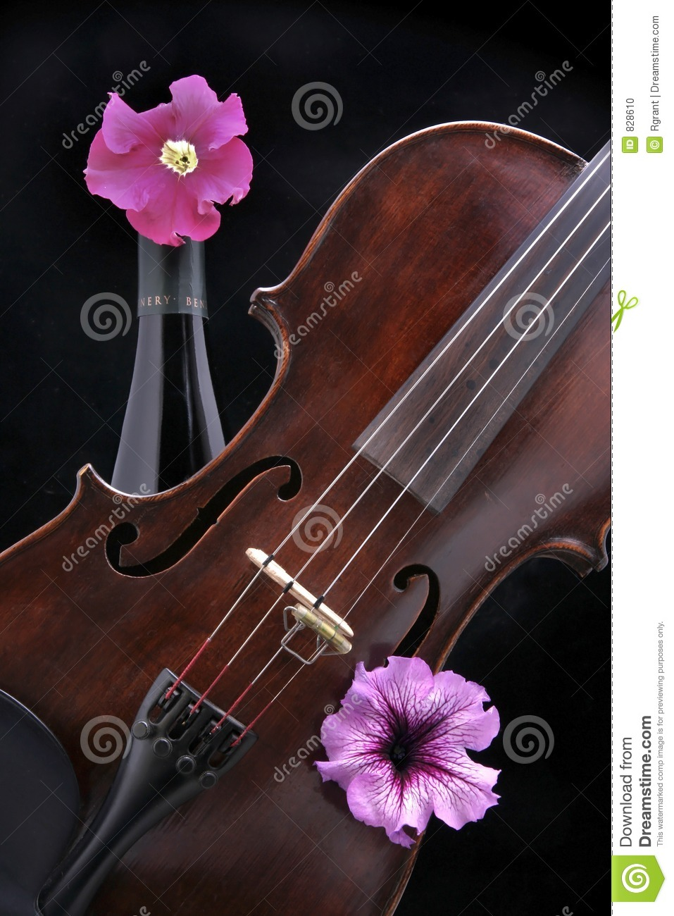 Violin with Wine bottle and Flowers