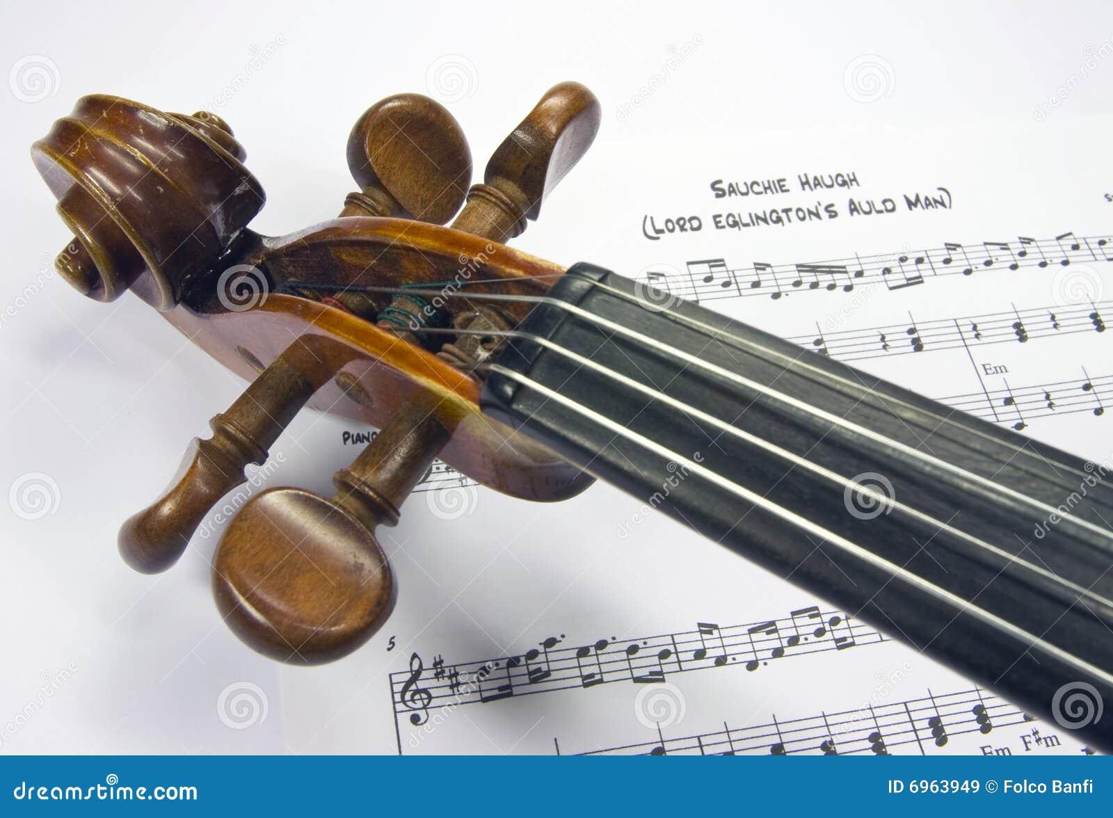 Violinenkopf mit Blattmusik