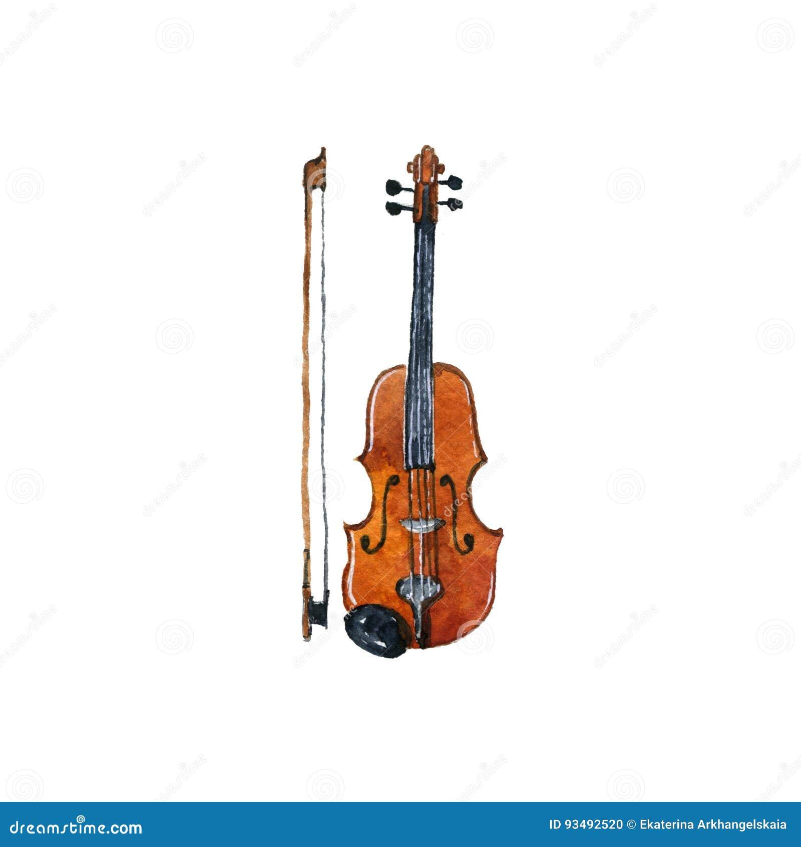Violino Do Desenho Da Aquarela Ilustracao Stock Ilustracao De