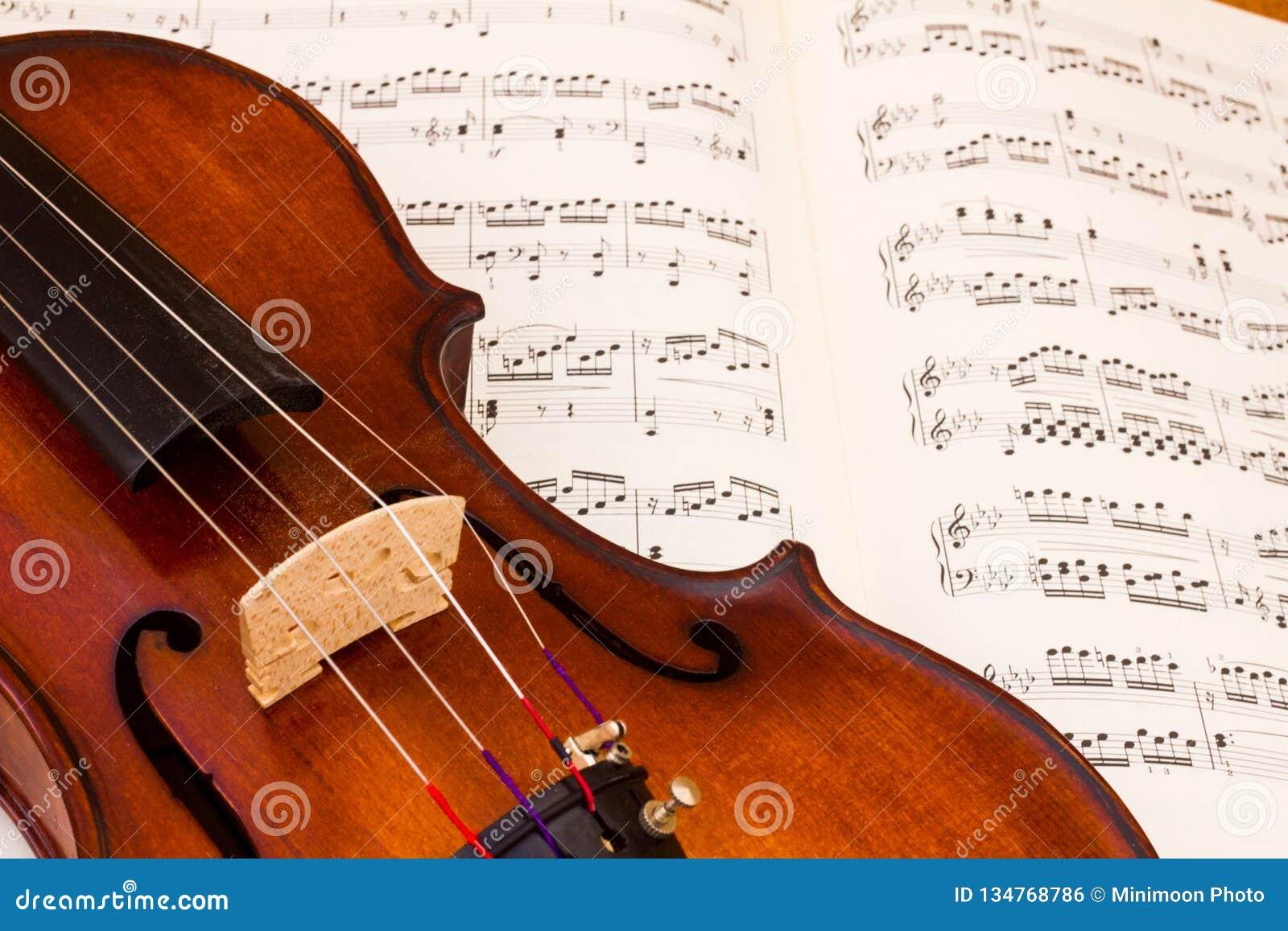 Violino sobre uma folha da contagem da música