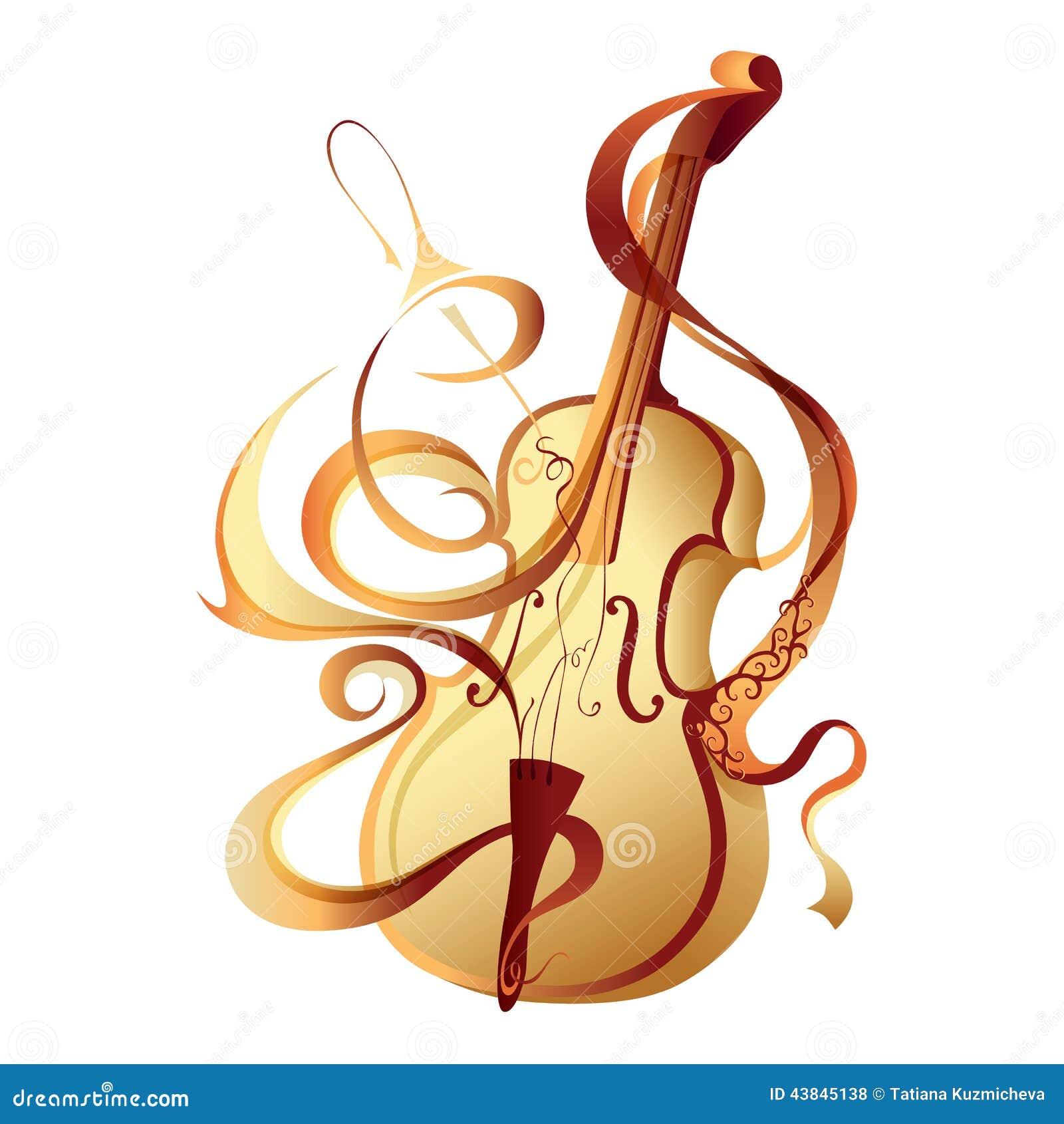 violon abstrait d or d instrument de musique de vecteur vector music note image vector music note image