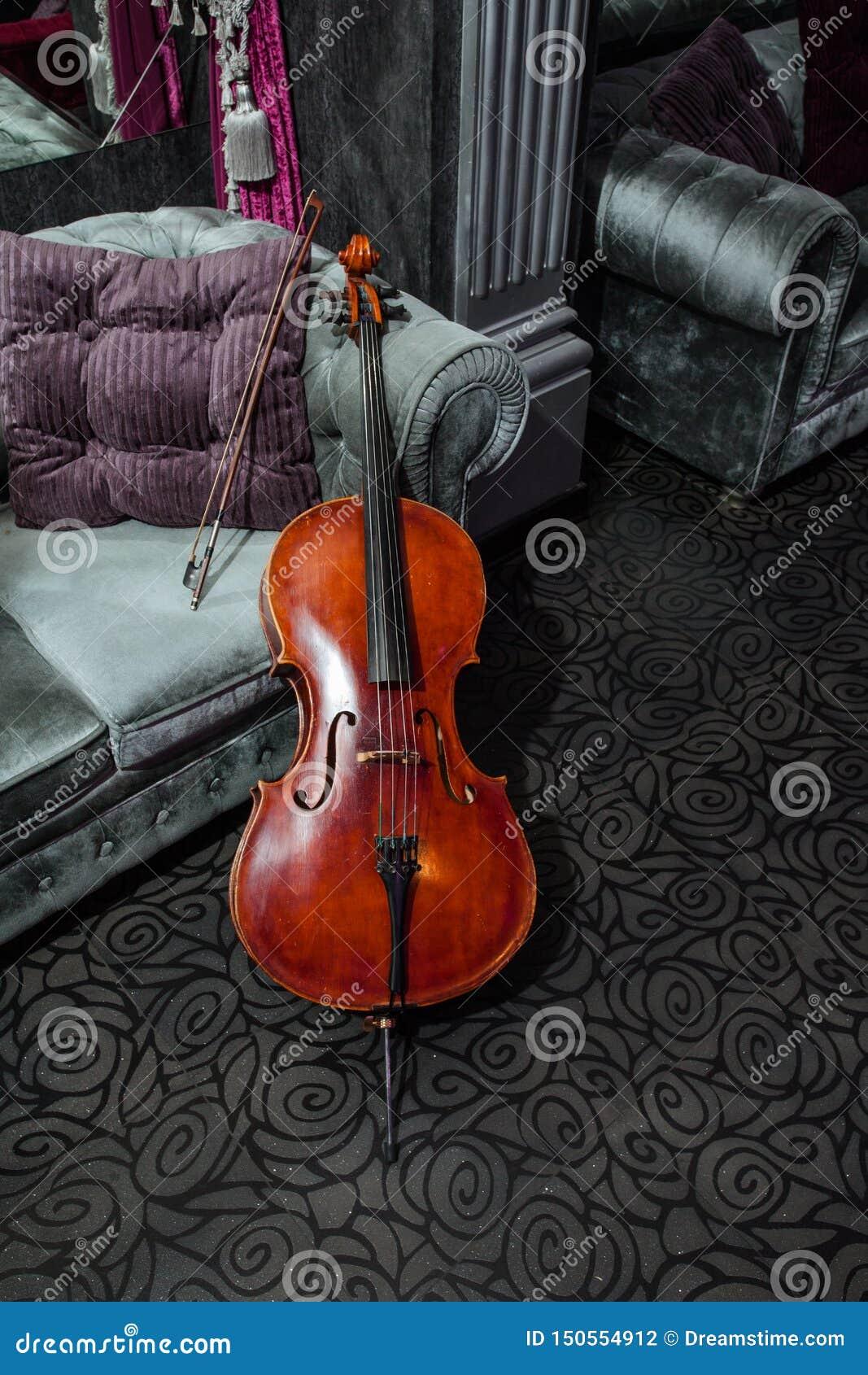 Violoncelle sur le divan gris
