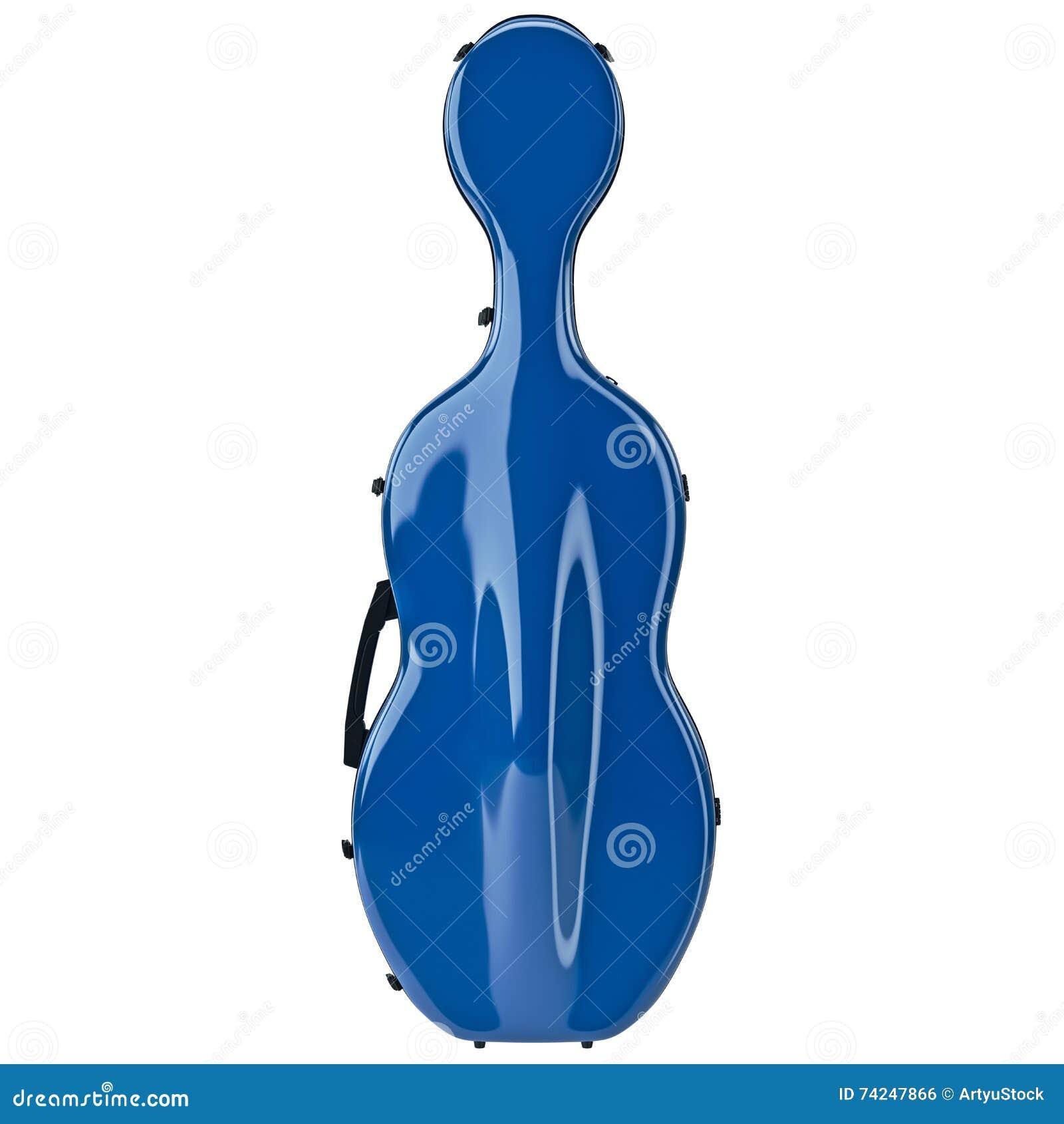 Violoncelo azul, vista dianteira do caso