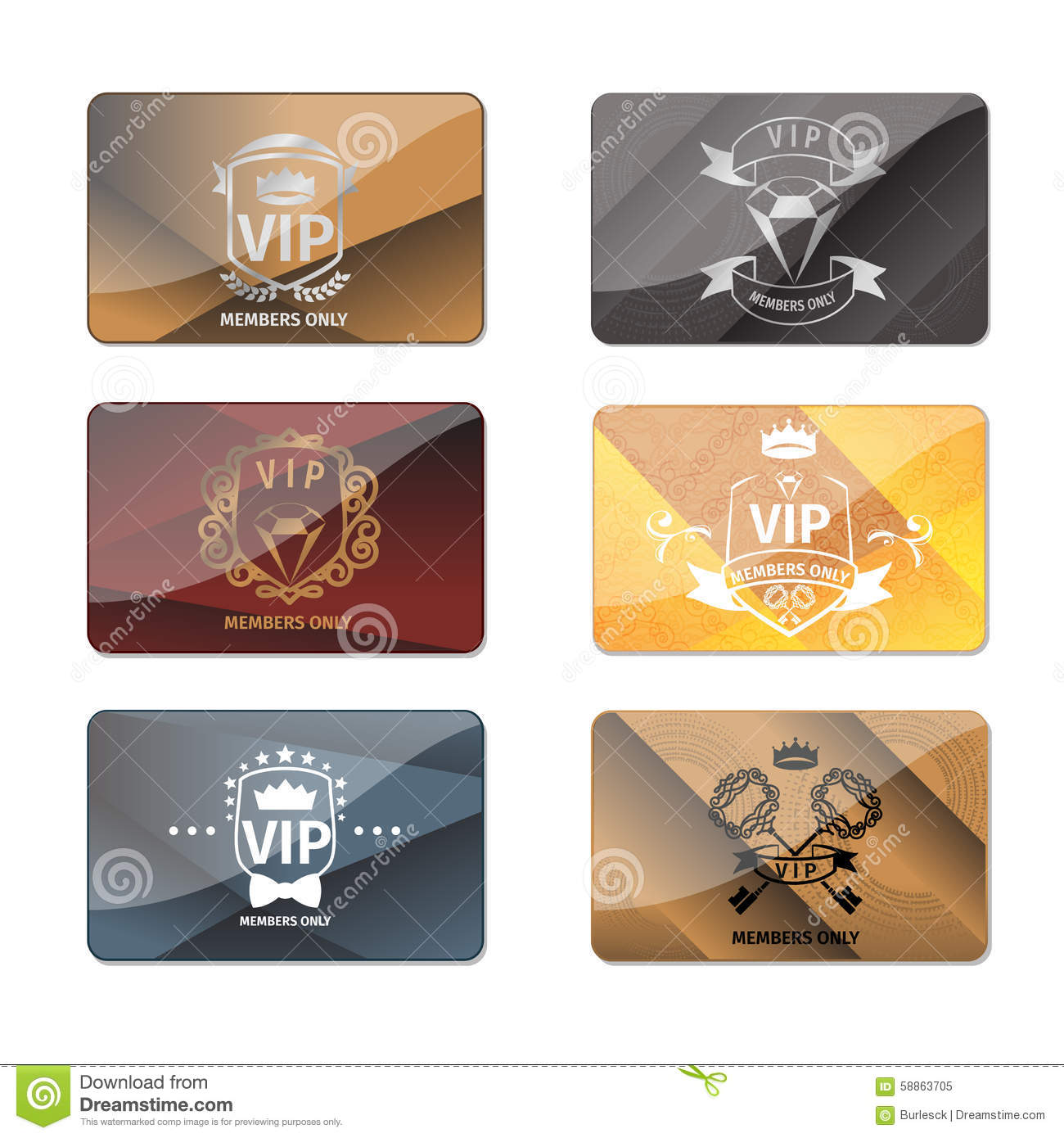 VIP Club Members Only Premium Cards Vector Set Vector – Club Card Design