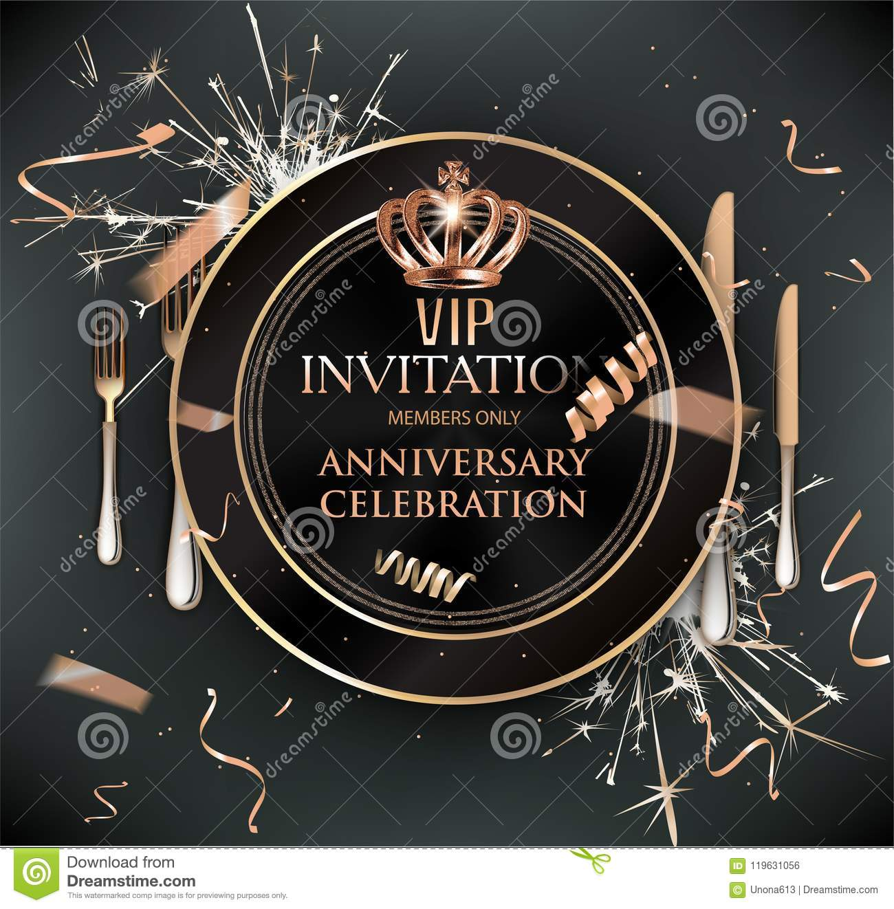 Vip Dinner Invitation Card With Cold Confetti Plate And