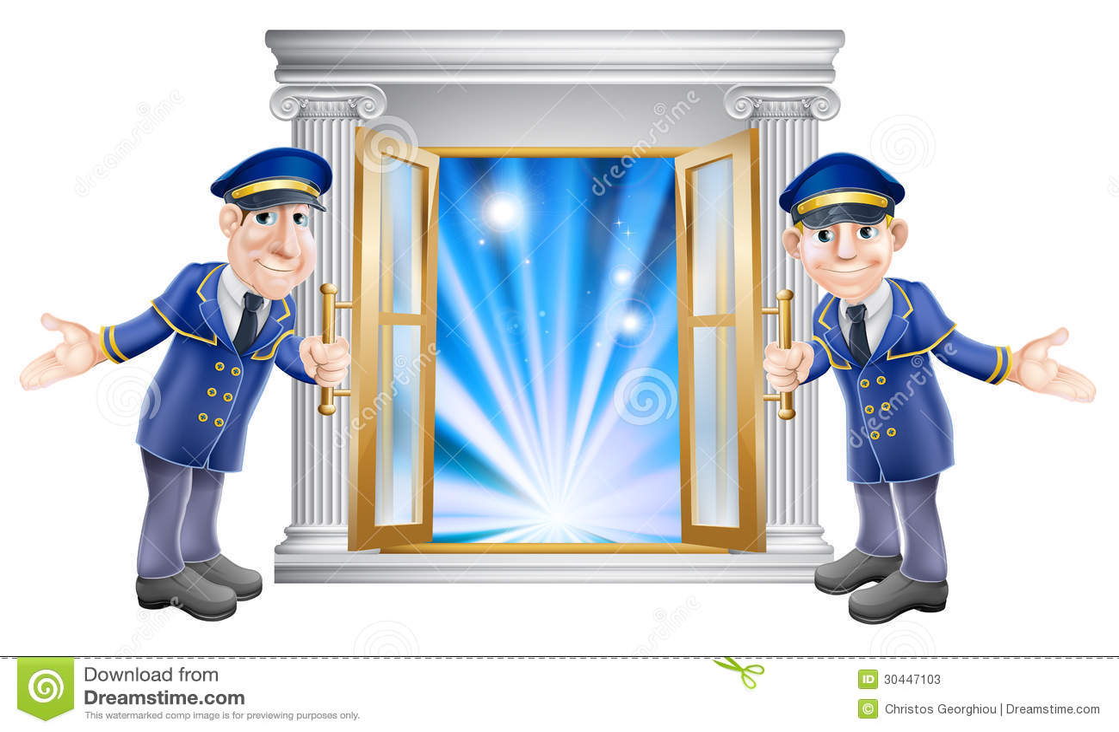 vip doormen and entrance door stock vector image 30447103. Black Bedroom Furniture Sets. Home Design Ideas